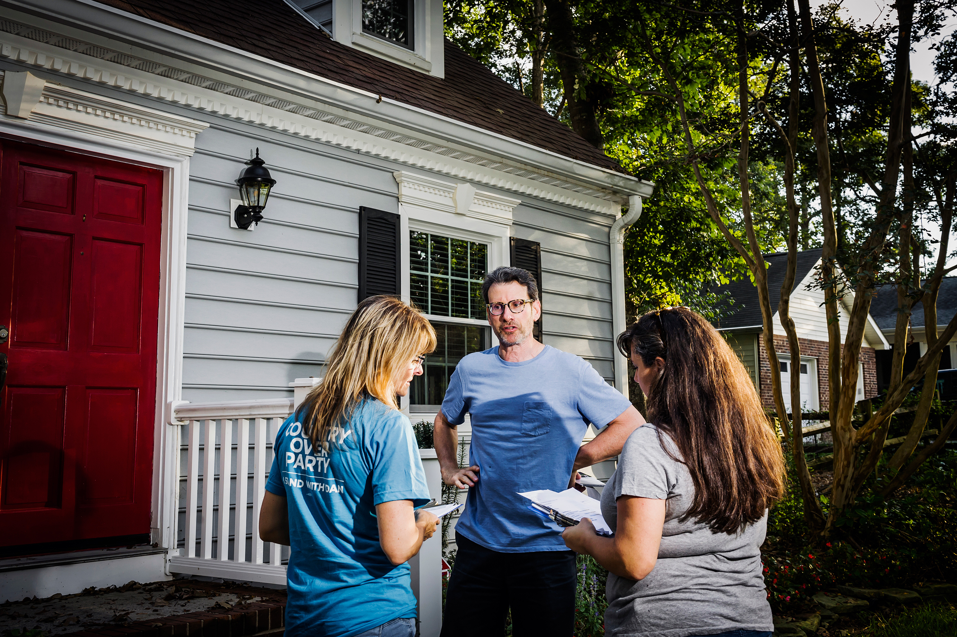 Eberly and her group's co-founder, Ava Williamson, canvass for Democrat Dan McCready in North Carolina's 9th House district.