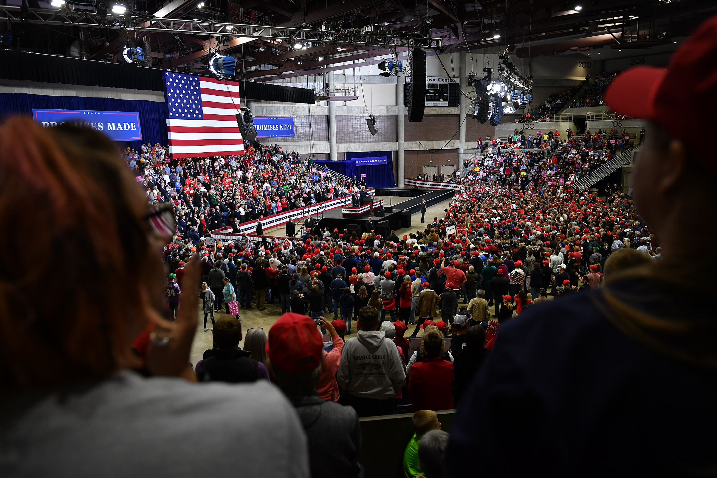 President Donald Trump speaks at a rally in the Mayo Civic Center in Rochester, Minn. on Oct. 4, 2018.