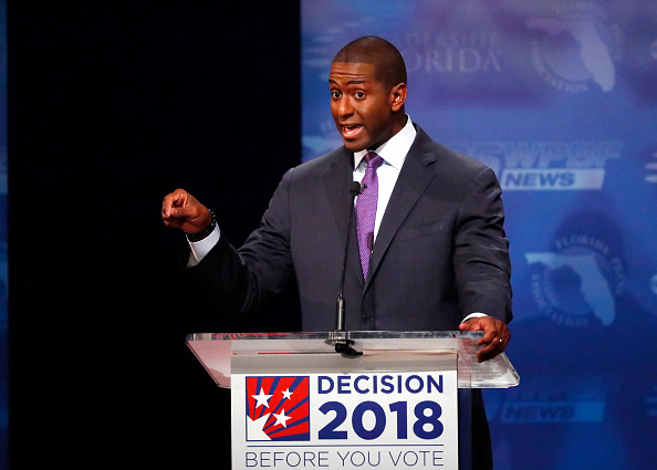 Democrat Andrew Gillum makes a point during his debate with Republican Ron DeSantis at Broward College October 24, 2018 in Davie, Florida.