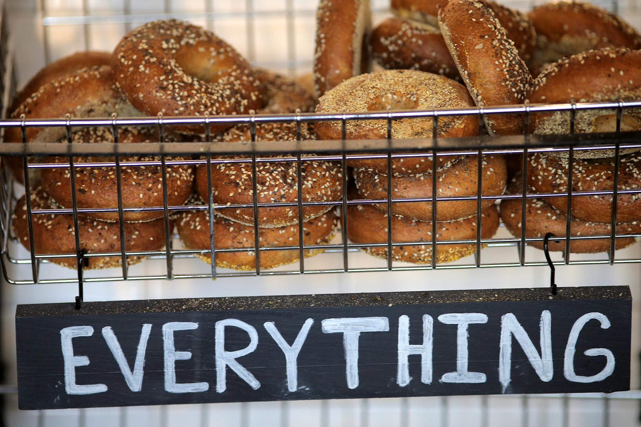 Freshly baked bagels are pictured at One Mighty Mill in Lynn, MA on Sep. 13, 2018.