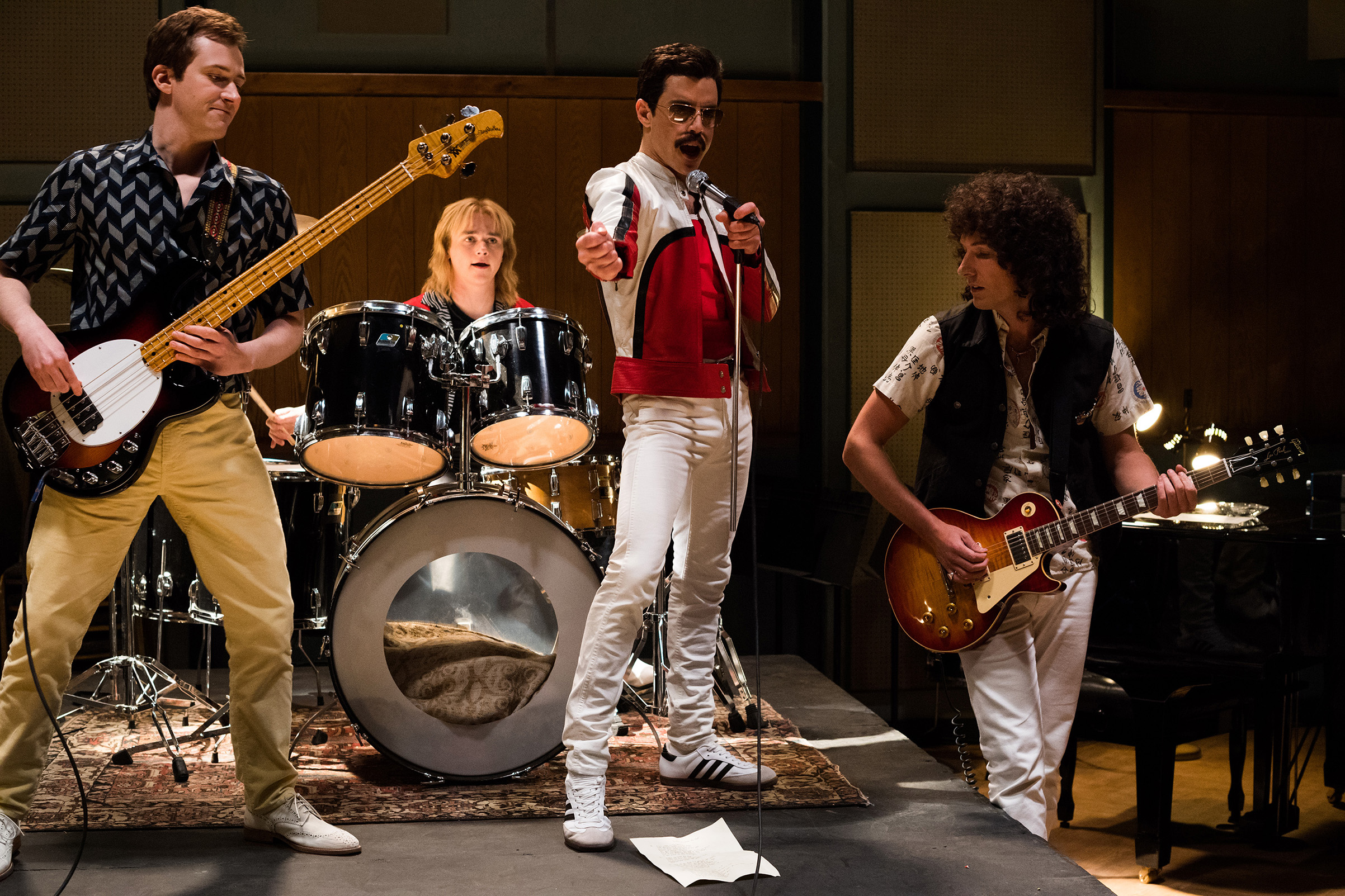 L-R: Joe Mazzello (John Deacon), Ben Hardy (Roger Taylor), Rami Malek (Freddie Mercury), and Gwilym Lee (Brian May) star in Twentieth Century Fox's Bohemian Rhapsody