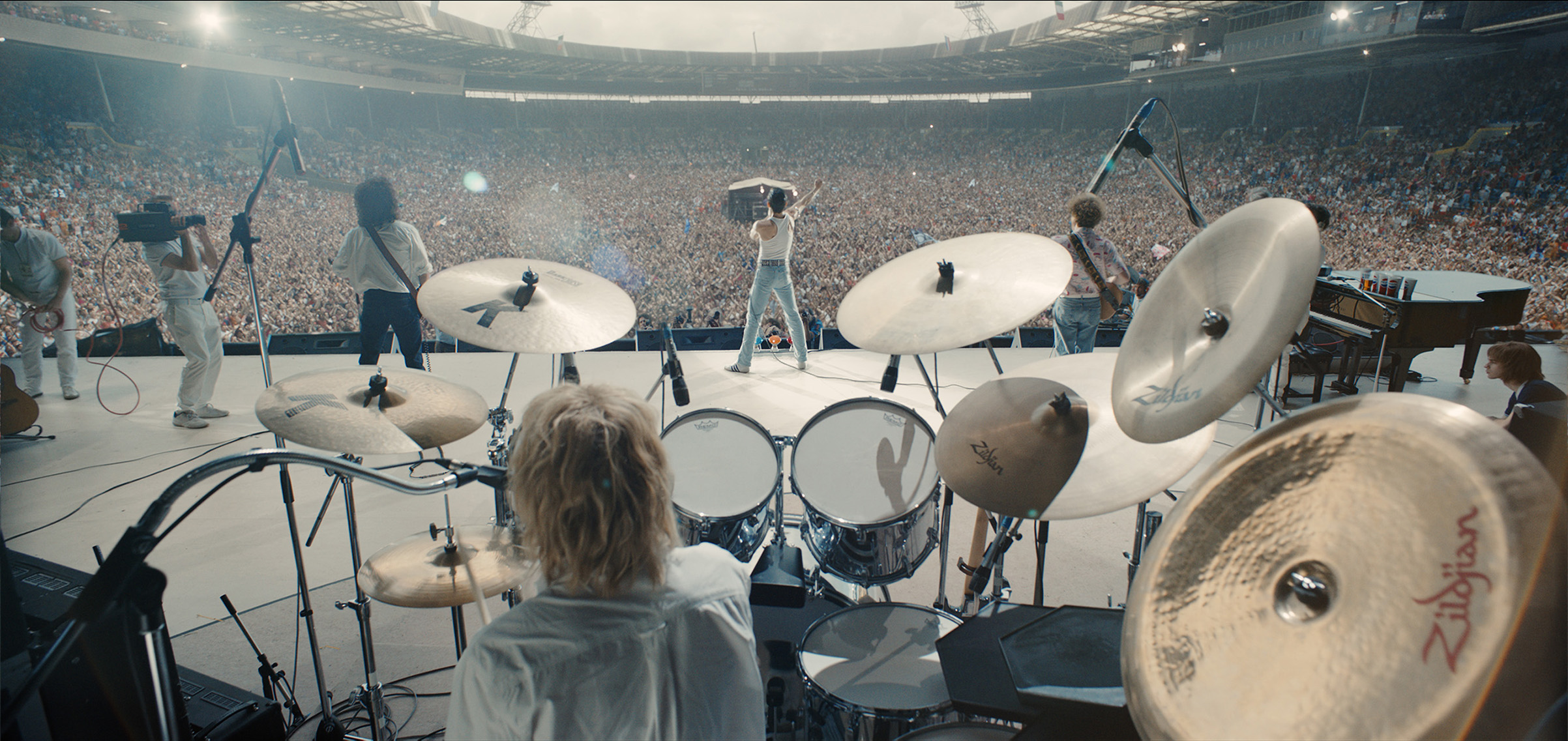L-R: Gwilym Lee (Brian May), Ben Hardy (Roger Taylor), Rami Malek (Freddie Mercury), and Joe Mazzello (John Deacon) star in Bohemian Rhapsody