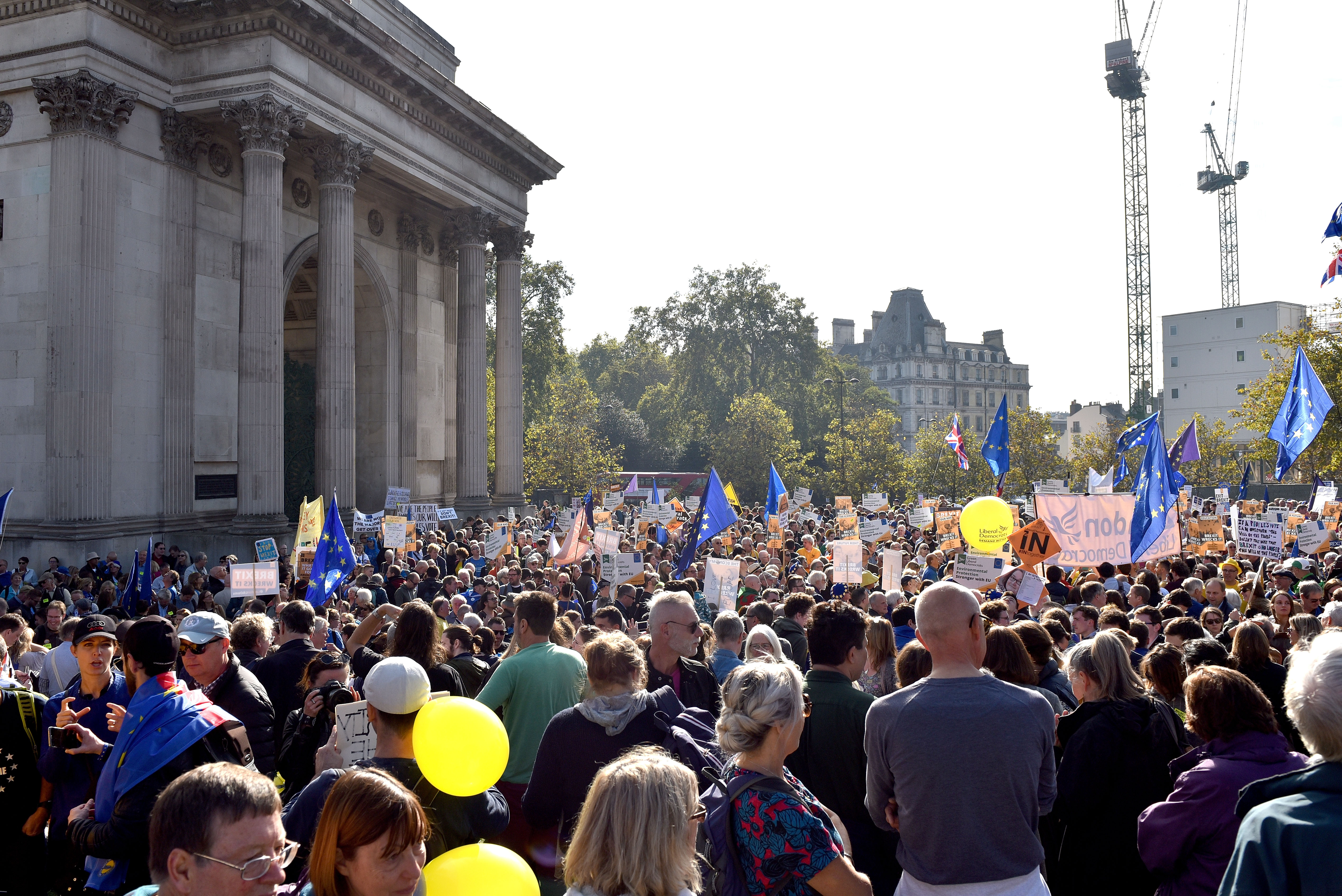People gather in Hyde Park for a march to demand a people's vote against Brexit on October 20, 2018 in London, England. More than six hundred thousand people march from Park Lane to Parliament Square in what is said to be the largest public protest against Brexit so far. The march is to demand a People's Vote on the final Brexit deal amid growing support from MPs from all the main political parties for a final say referendum.