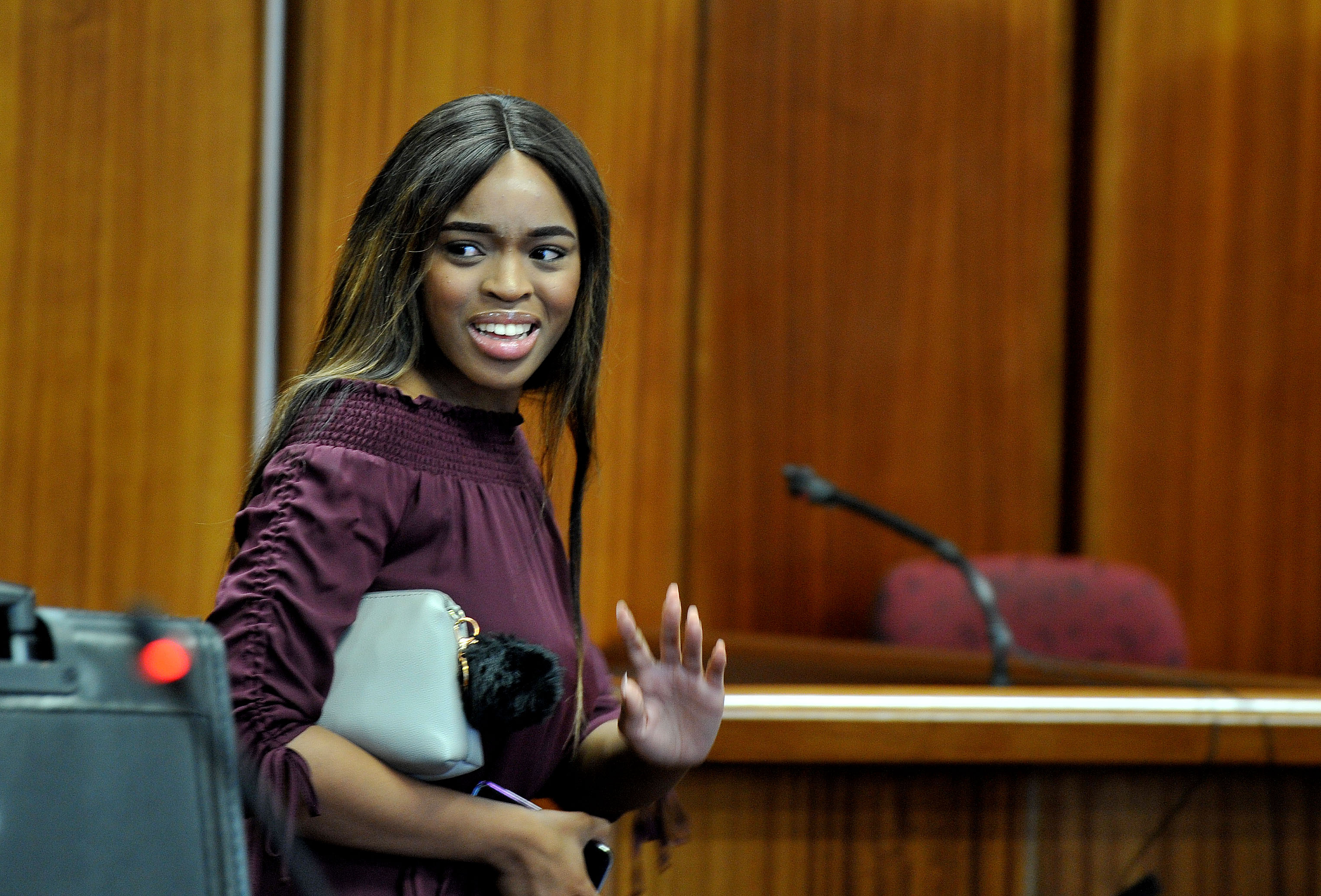 State witness Cheryl Zondi, 22, is cross-examined during the rape and human trafficking trial against controversial Nigerian pastor Timothy Omotoso at the Port Elizabeth High Court on October 16, 2018 in Nelson Mandela Bay, South Africa.