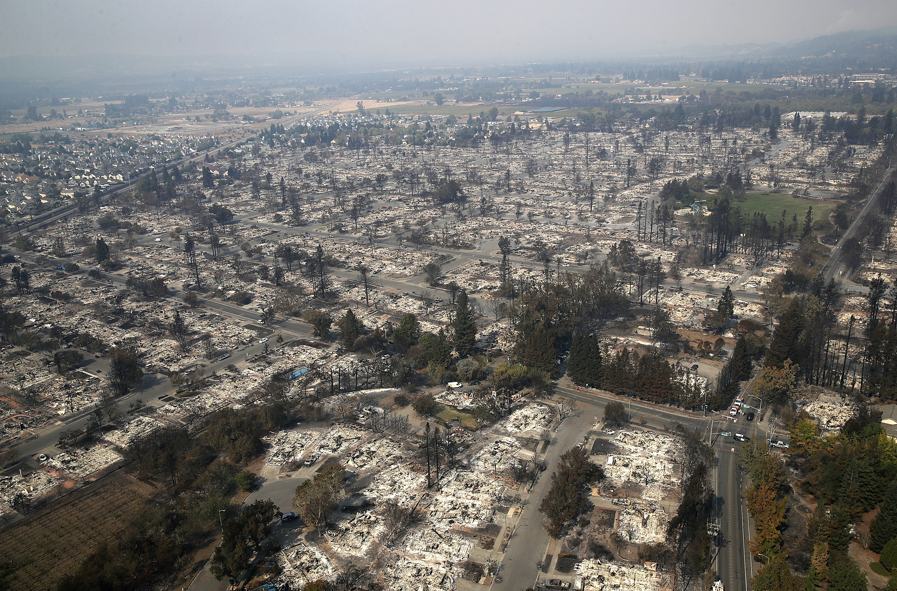 A view of hundreds of homes in the Coffey Park neighborhood that were destroyed by the Tubbs Fire on October 11, 2017 in Santa Rosa, California.