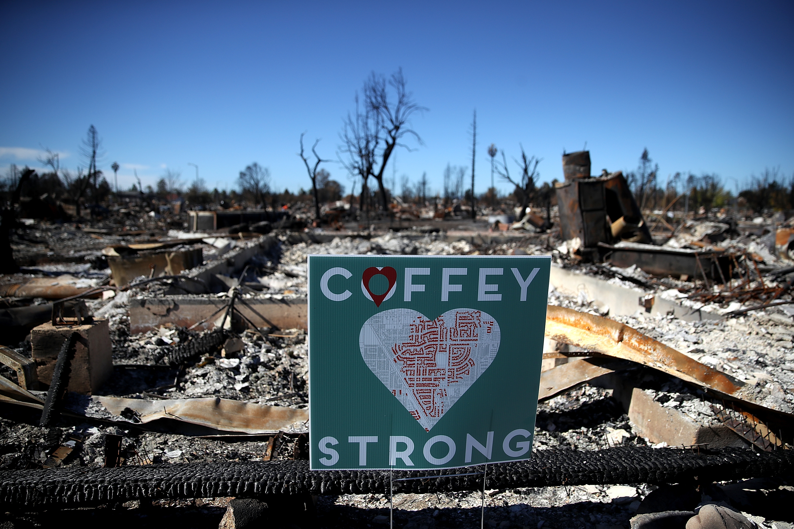 A sign is posted in front of a Coffey Park home that was destroyed by the Tubbs Fire on October 23, 2017 in Santa Rosa, California.