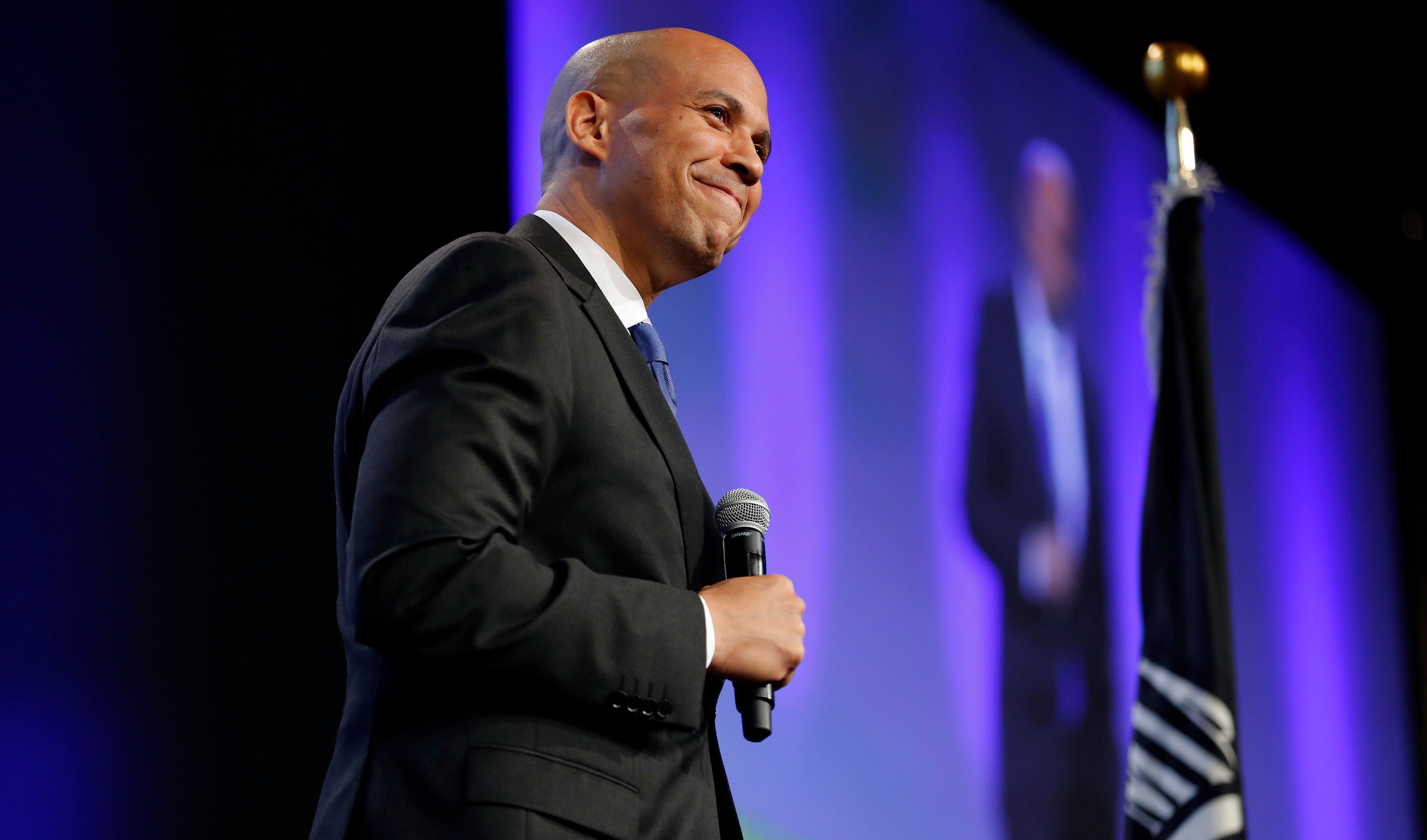 U.S. Sen. Cory Booker, D-N.J., speaks during the Iowa Democratic Party's annual Fall Gala, in Des Moines, Iowa, on Oct. 6, 2018.