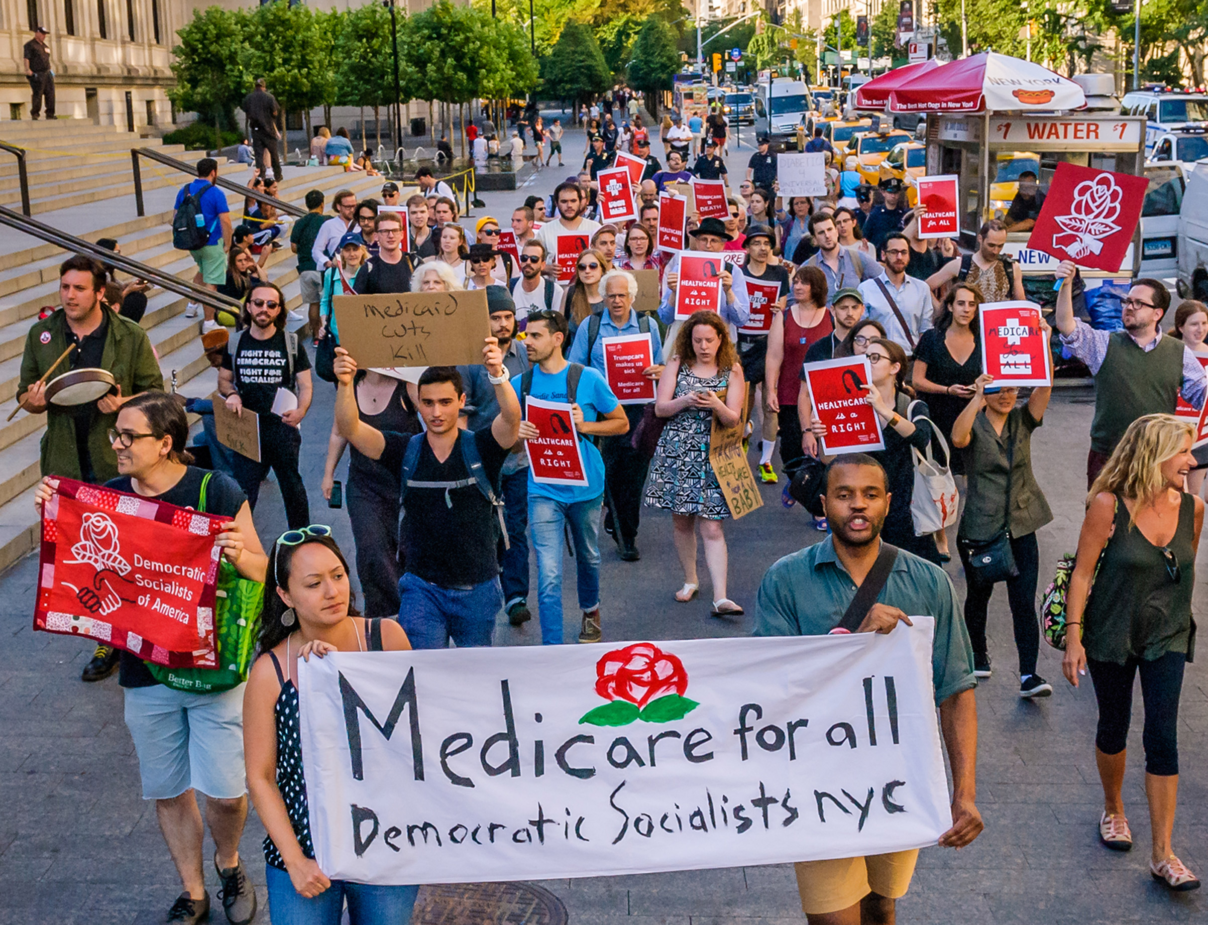 The Socialist Feminists of Democratic Socialists of America (DSA) protesting Trump's health care plan on Jul. 5, 2017, in front of the Metropolitan Museum of Art in Manhattan.