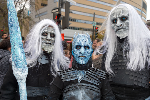 Game of Thrones White Walkers and Night King taking part in the Zombie Walk in downtown Montreal on October 28, 2017
