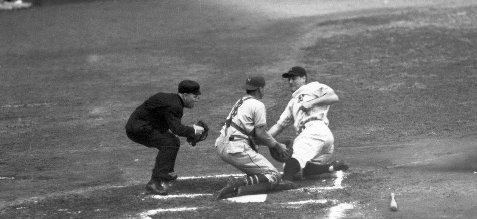Lou Gehrig Sliding Into Homeplate