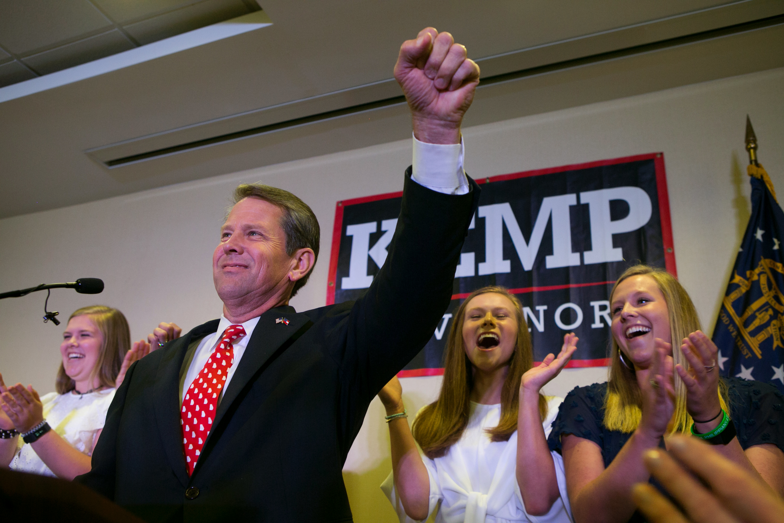 Secretary of State and Republican Gubernatorial candidate Brian Kemp addresses the audience and declares victory during an election watch party on July 24, 2018 in Athens, Georgia.