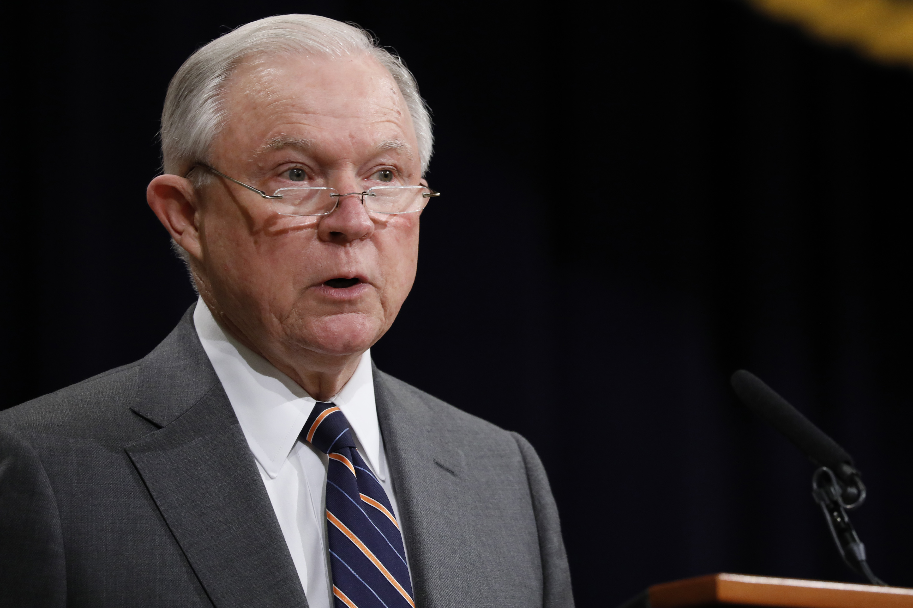 Attorney General Jeff Sessions speaks at the Justice Department in Washington, D.C. on Sept. 17, 2018.
