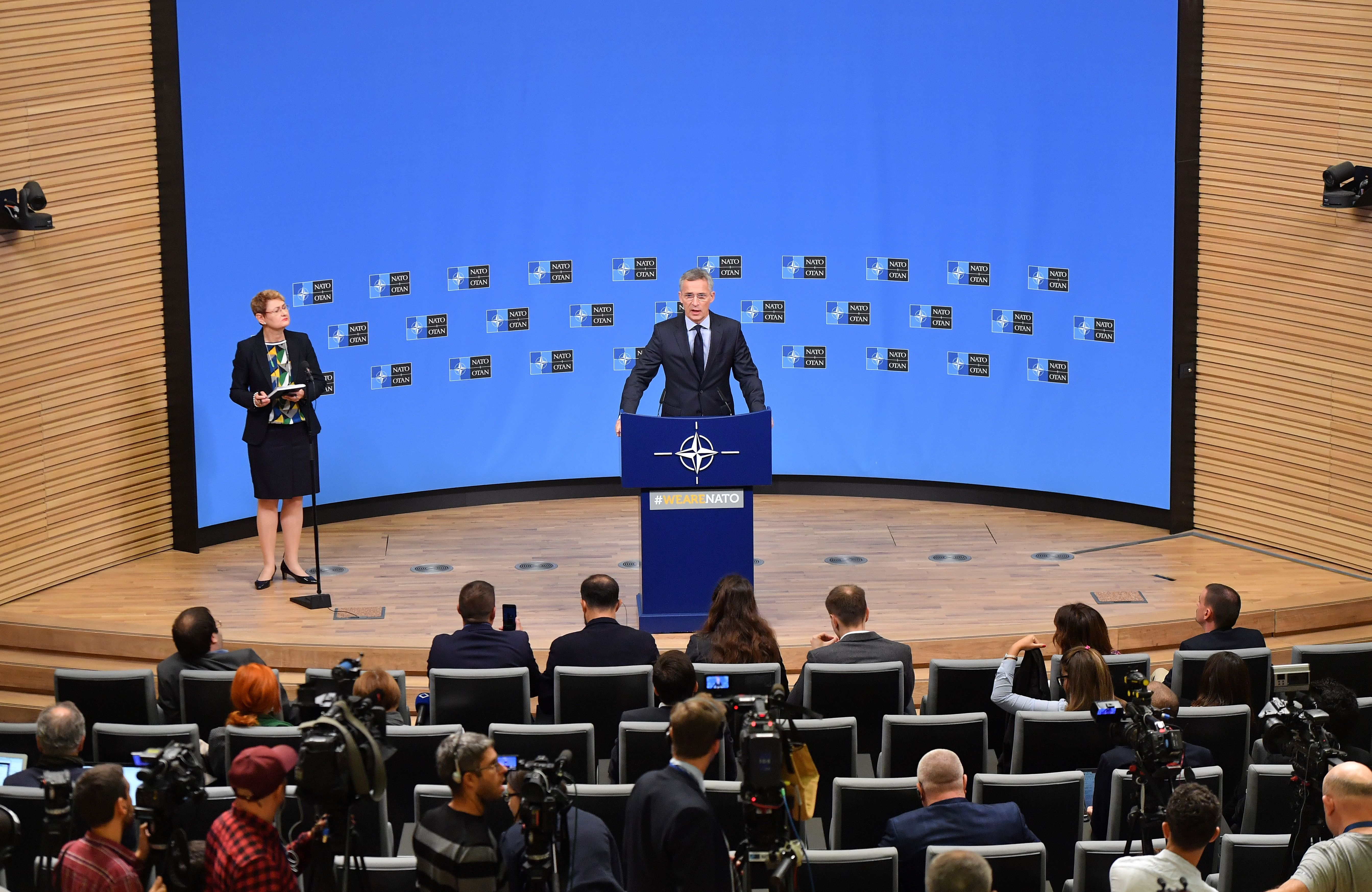 NATO Secretary General Jens Stoltenberg addresses a press conference ahead of a NATO defence ministerial meeting at NATO headquarters in Brussels on October 2, 2018.