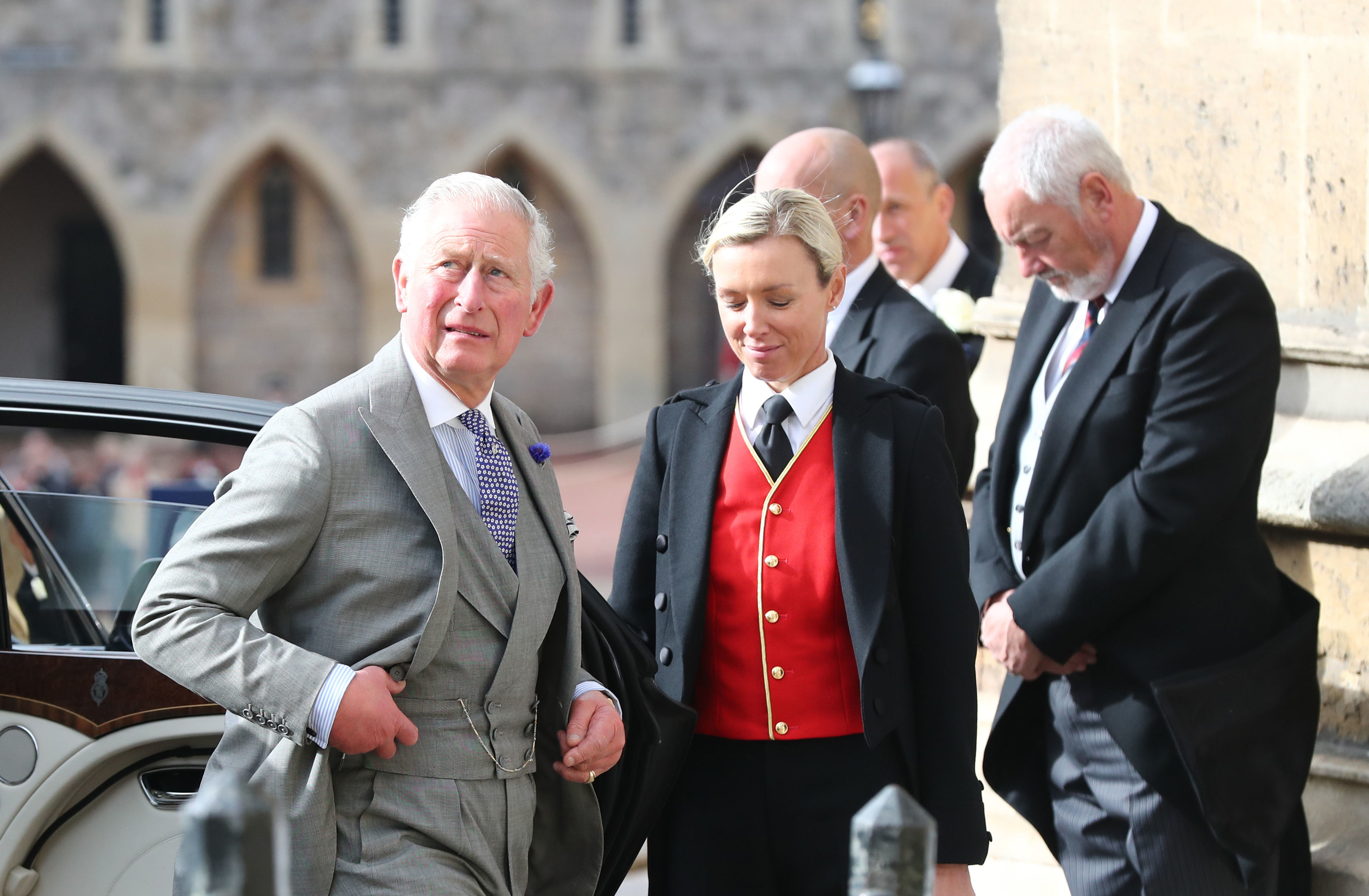 OCT 12: Prince Charles, Prince of Wales attends the wedding of Princess Eugenie of York to Jack Brooksbank at St. George's Chapel in Windsor, England.
