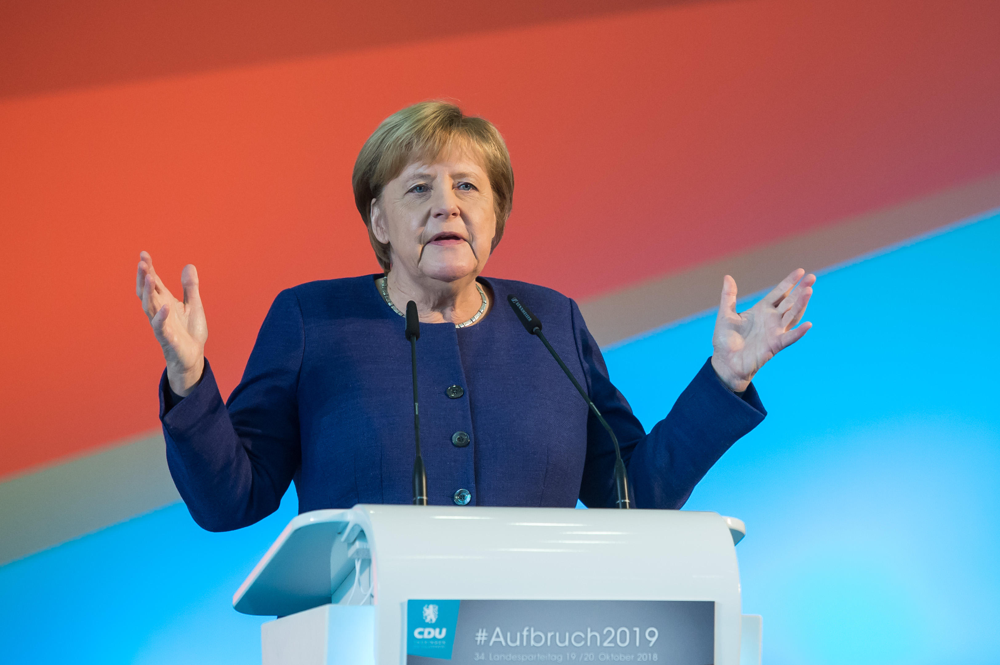 Angela Merkel, Chancellor and Federal Chairman of the CDU, speaking at the state party conference of the CDU Thuringia in the Obereichsfeldhalle. She called for Saudi Arabia to reveal the truth about journalist, Jamal Khashoggi's death.