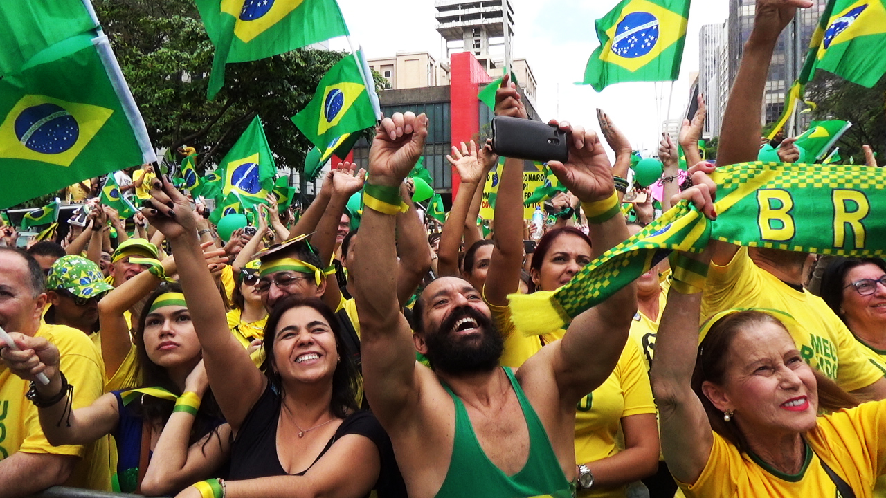 Supporters of Jair Bolsonaro, far-right lawmaker and presidential candidate, attend a demonstration in Sao Paulo, Brazil, on Oct.24 2018