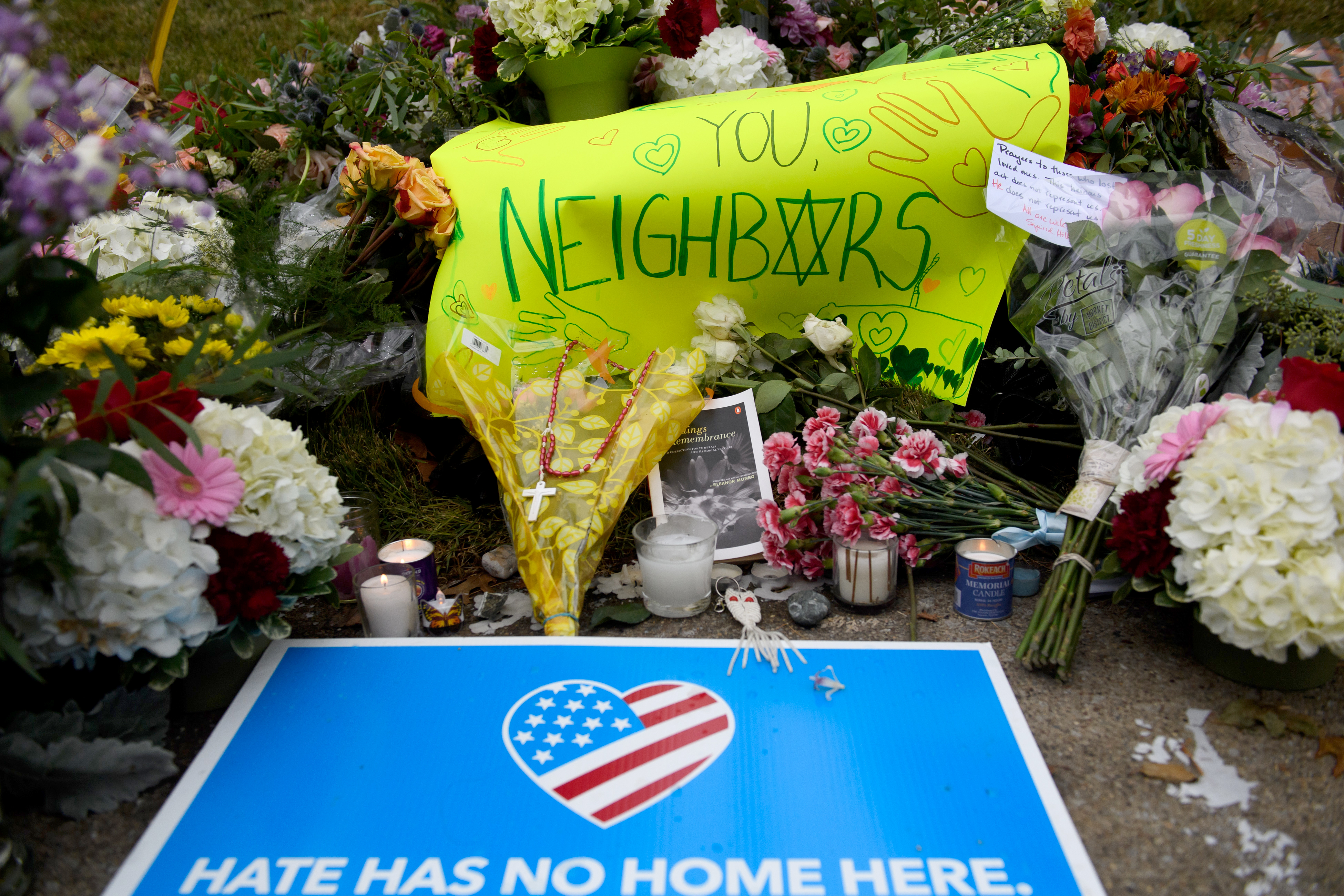 A makeshift memorial down the street from the site of the mass shooting that killed 11 people and wounded 6 at the Tree Of Life Synagogue in Pittsburgh, Penn. on Oct. 28, 2018.