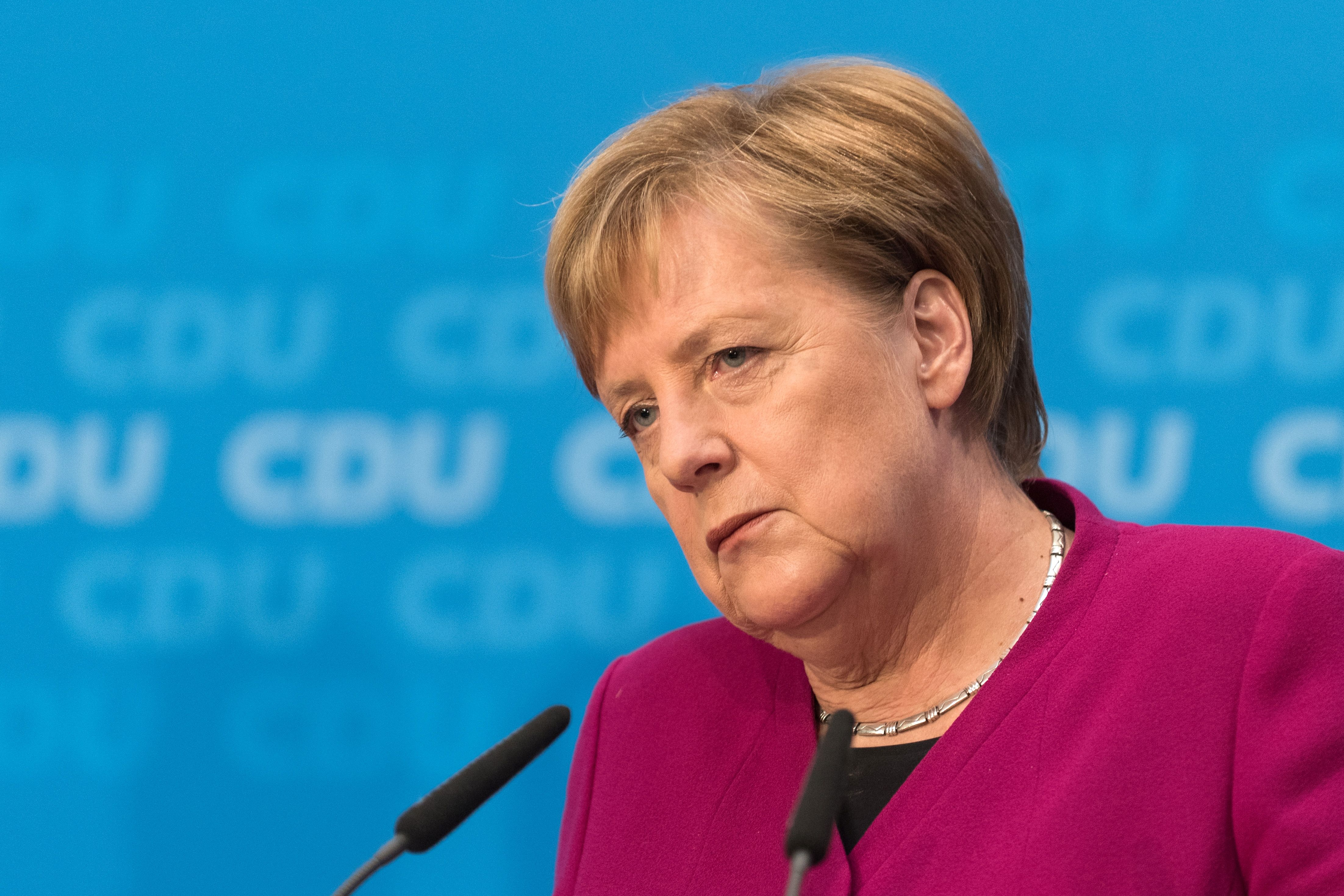 German Chancellor  Angela Merkel looks on during a press conference at the CDU headquarters on Oct. 29, 2018 one day after the regional state elections in Hesse