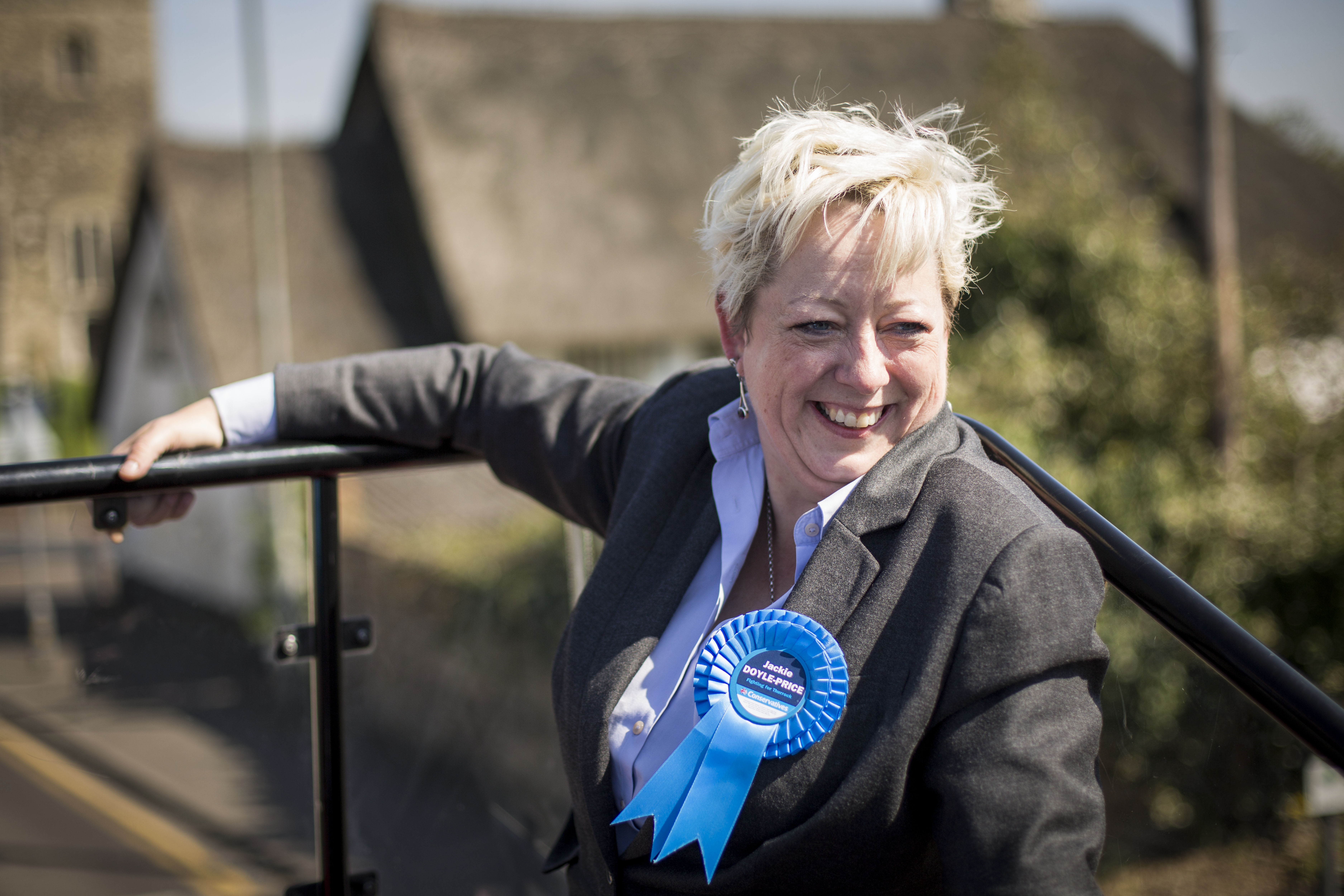 Jackie Doyle-Price, incumbent Conservative Member of Parliament (MP) for Thurrock, travels around her constituency in Thurrock, England on April 21, 2015.