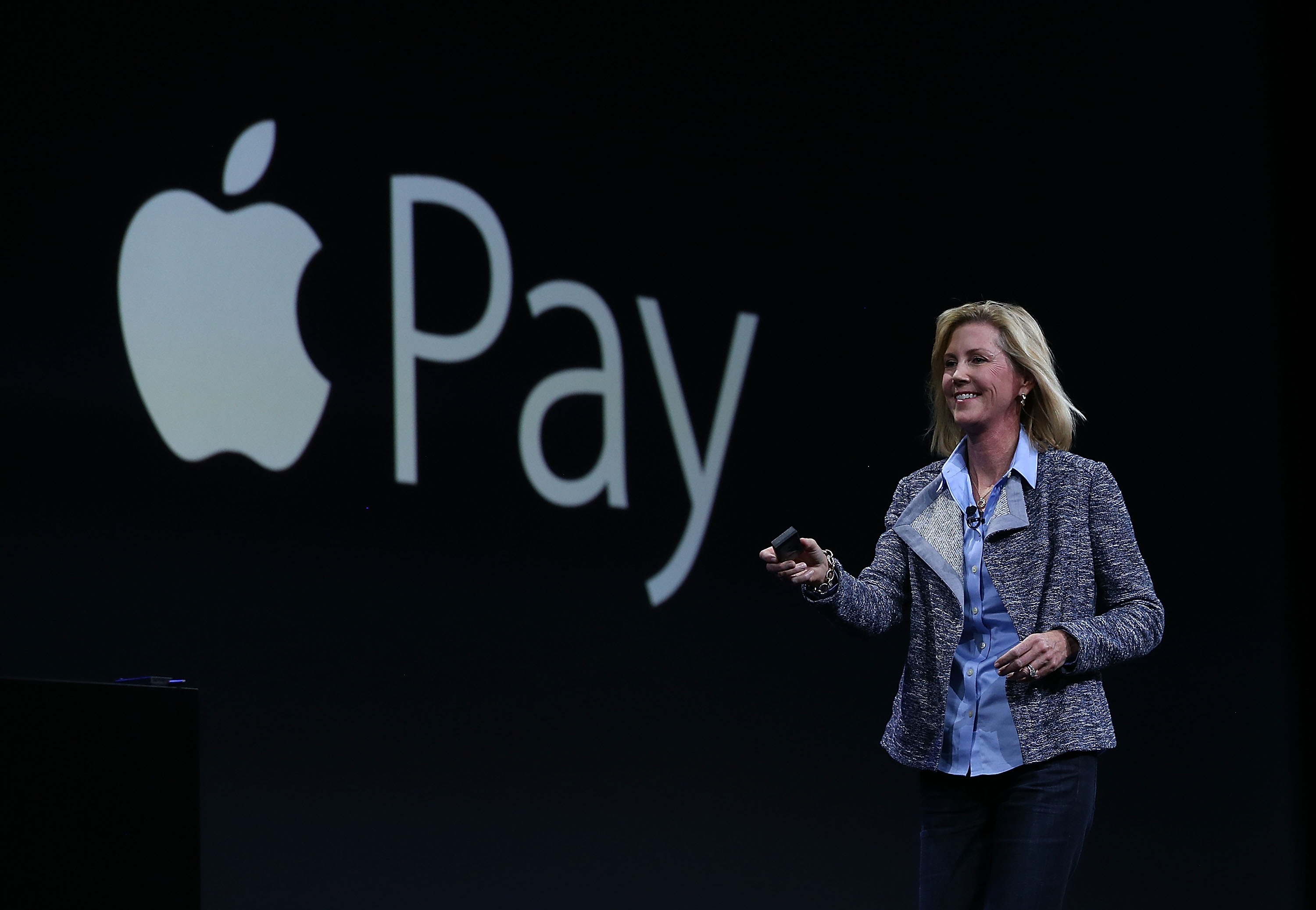 SAN FRANCISCO, CA - JUNE 08:  Apple Vice President of Worldwide Online Stores, Jennifer Bailey, speaks about Apple Pay during Apple WWDC on June 8, 2015 in San Francisco, California. Apple annouced a new OS X, El Capitan, and iOS 9 during the keynote at the annual developers conference that runs through June 12.  (Photo by Justin Sullivan/Getty Images)