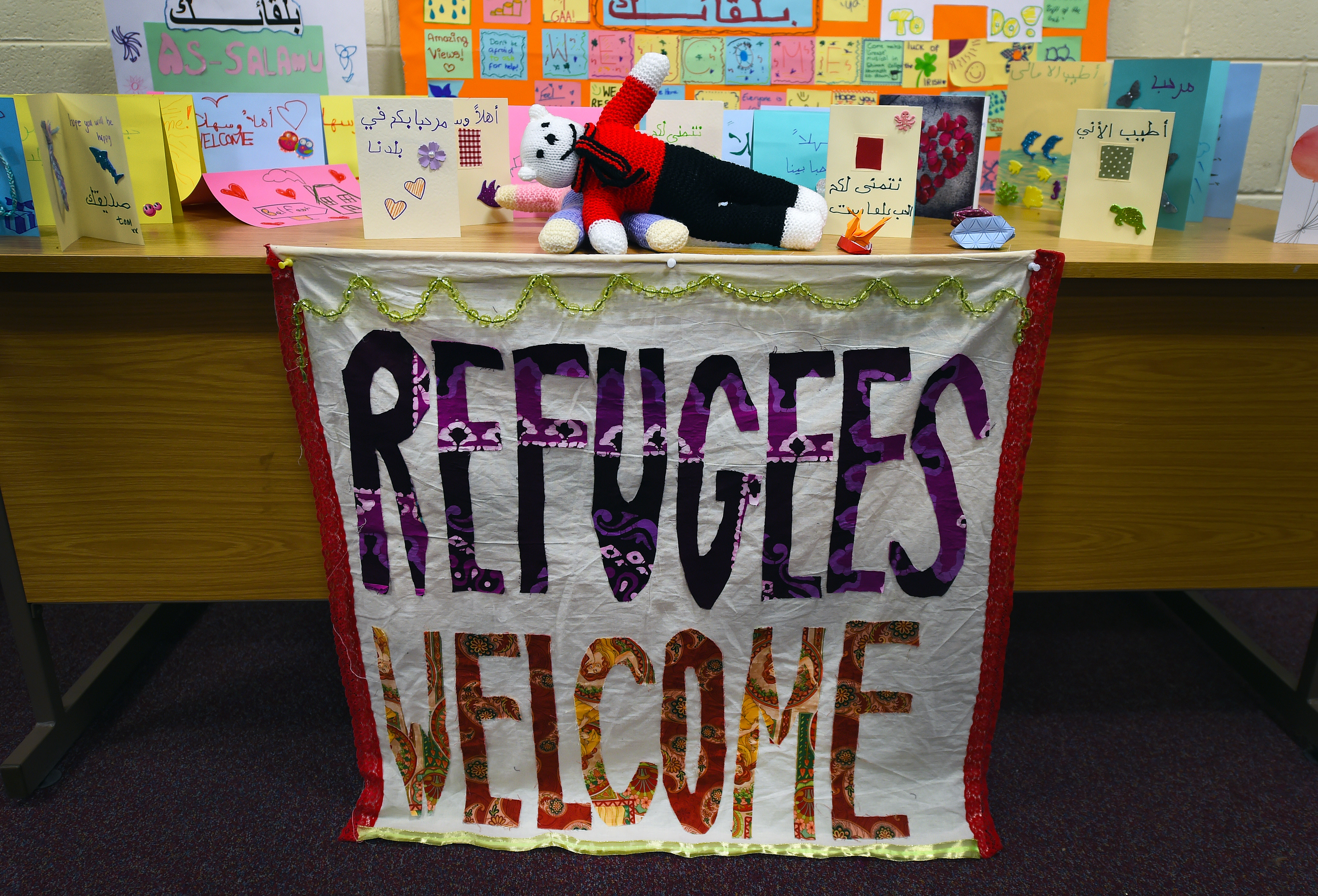 Welcoming cards and posters made by local children await Syrian refugees at an undisclosed location on December 14, 2015 in Belfast, Northern Ireland.