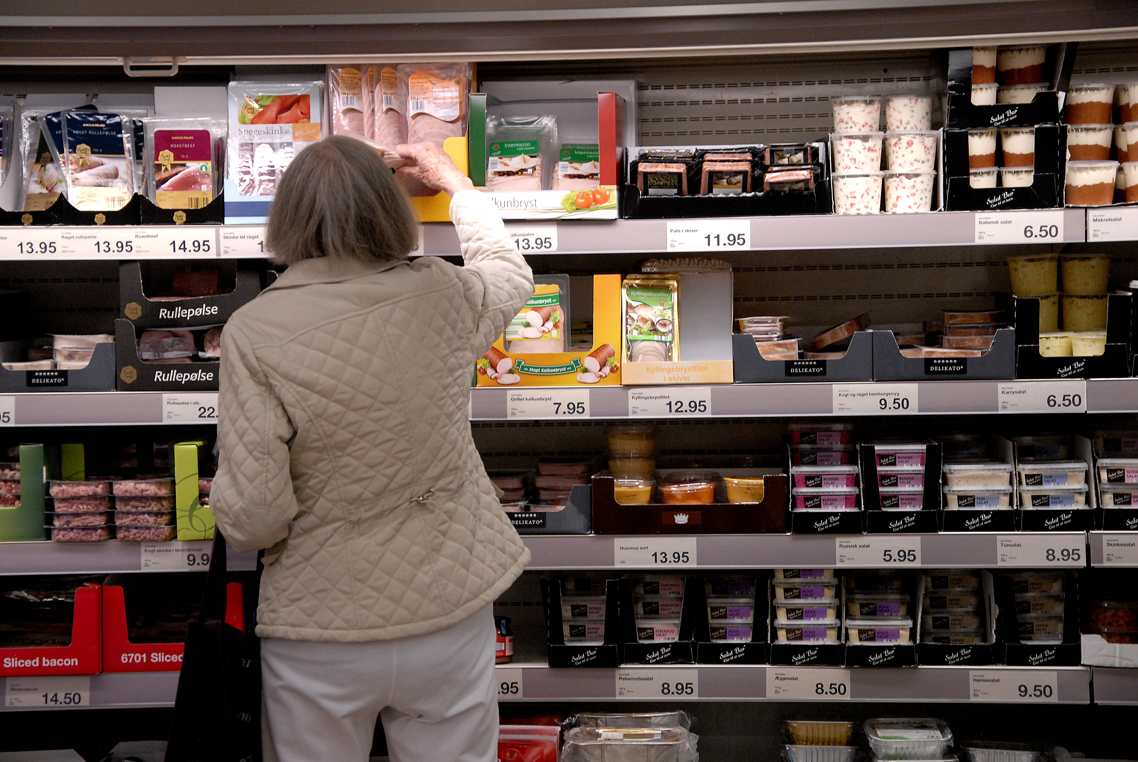 A shopper browses at a grocery store in Copenhagen, Denmark on July 19, 2015.
