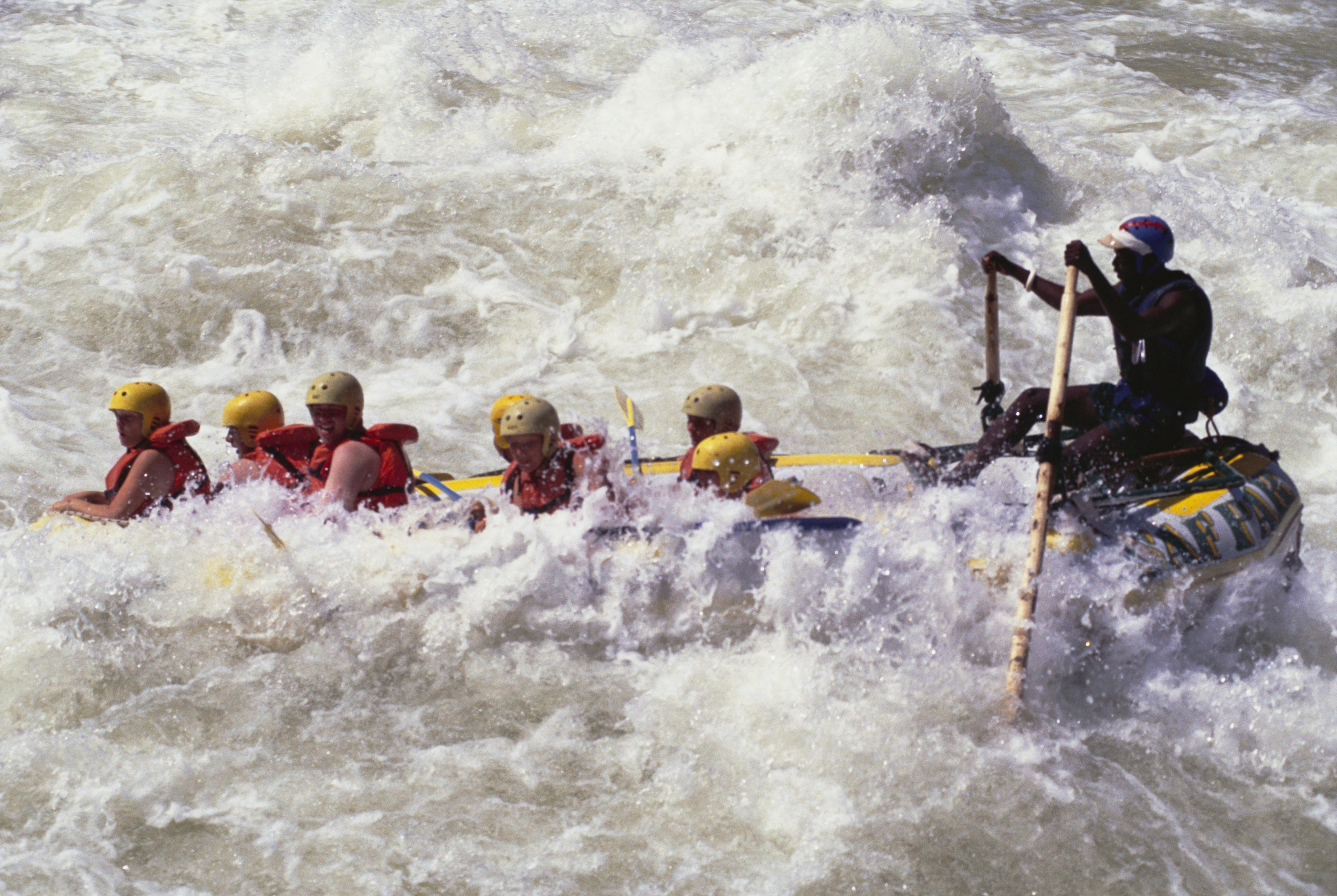 This archive photo shows people whitewater rafting