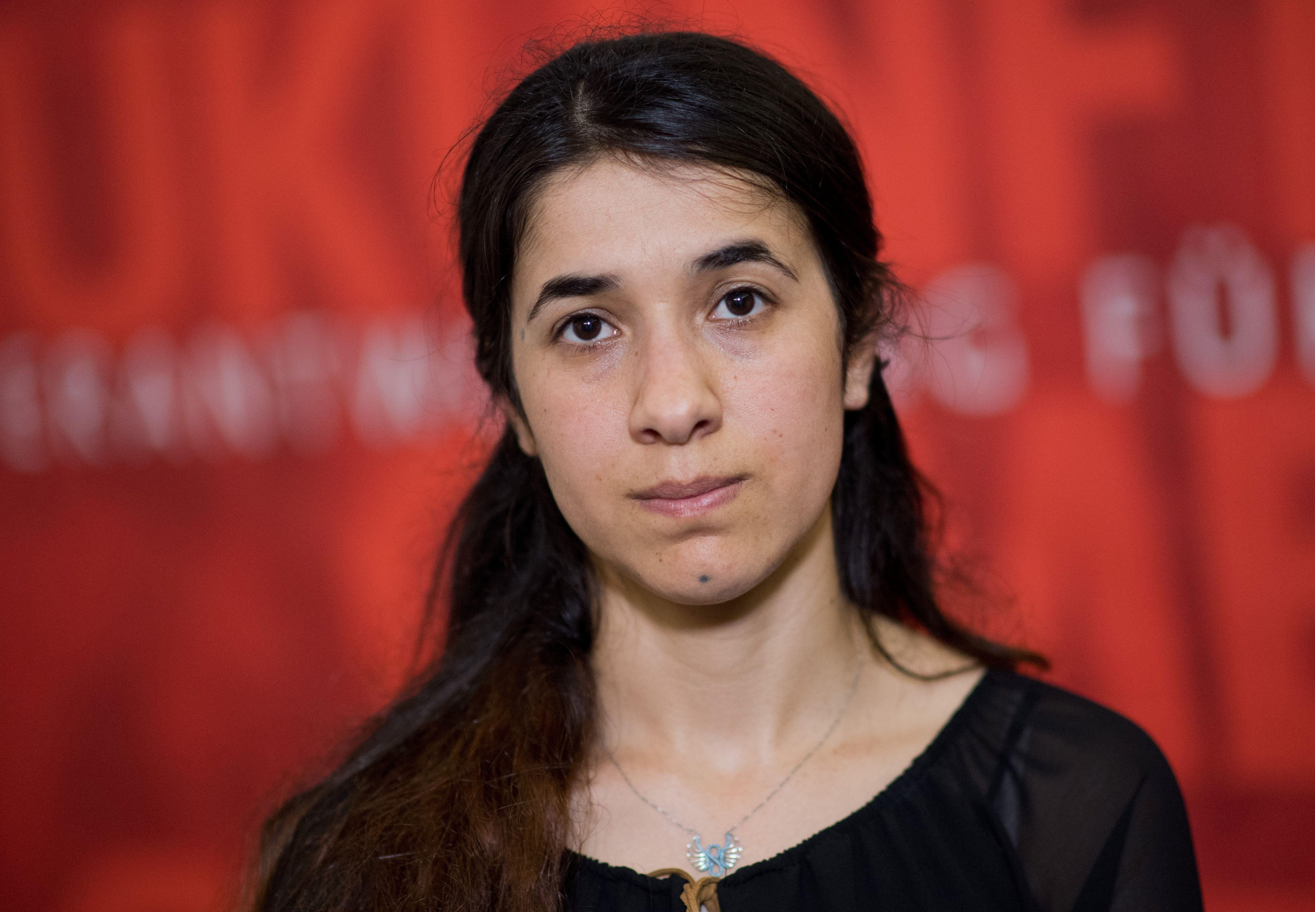 Nadia Murad participates in the Lower Saxony Landtag in Hanover, northern Germany on May 31, 2016
