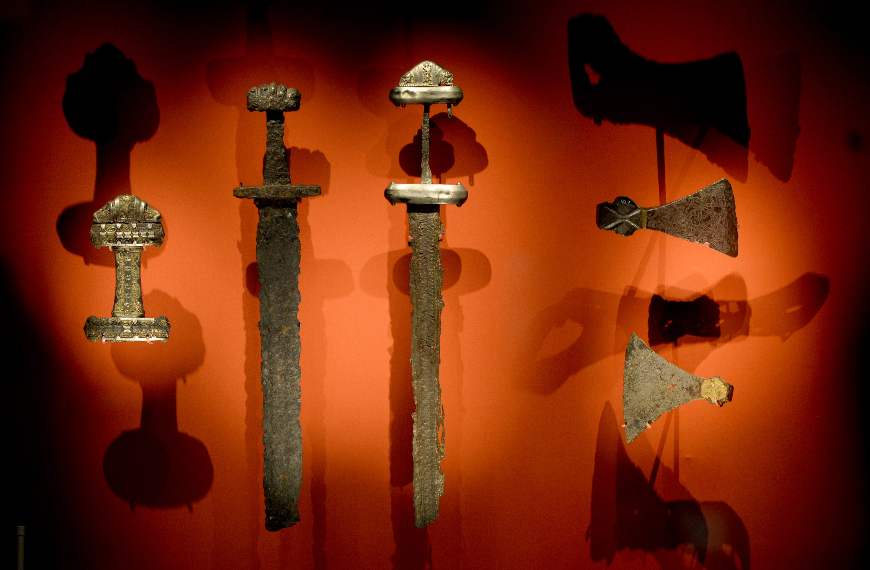 Viking swords are displayed at the British Museum in London.