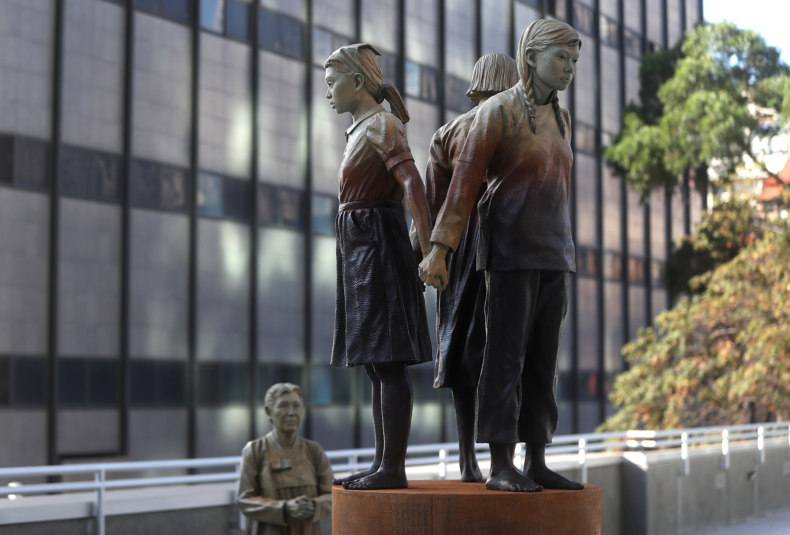 The statue  Comfort Women  Column of Strength by artist Steven Whyte is displayed at St. Mary's Square on November 1, 2017 in San Francisco, California.