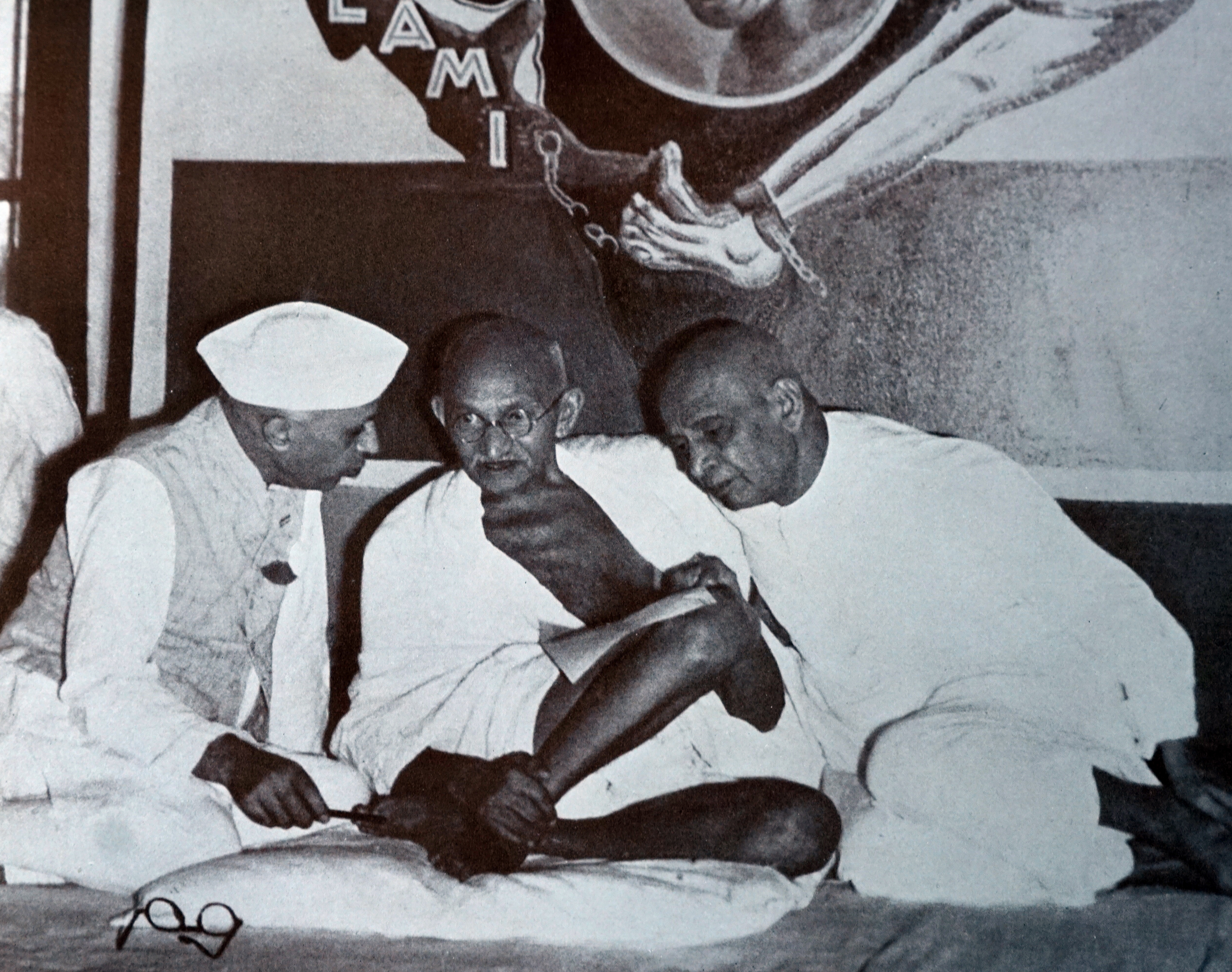 Mahatma Gandhi with Sardar Patel and Jawaharlal Nehru. 1947. Gandhi was the preeminent leader of the Indian independence movement in British-ruled India. Sardar Vallabhbhai Patel was an Indian statesman, a leader of the Indian National Congress and a founding father of the Republic of India. Universal History Archive-UIG/Getty Images.