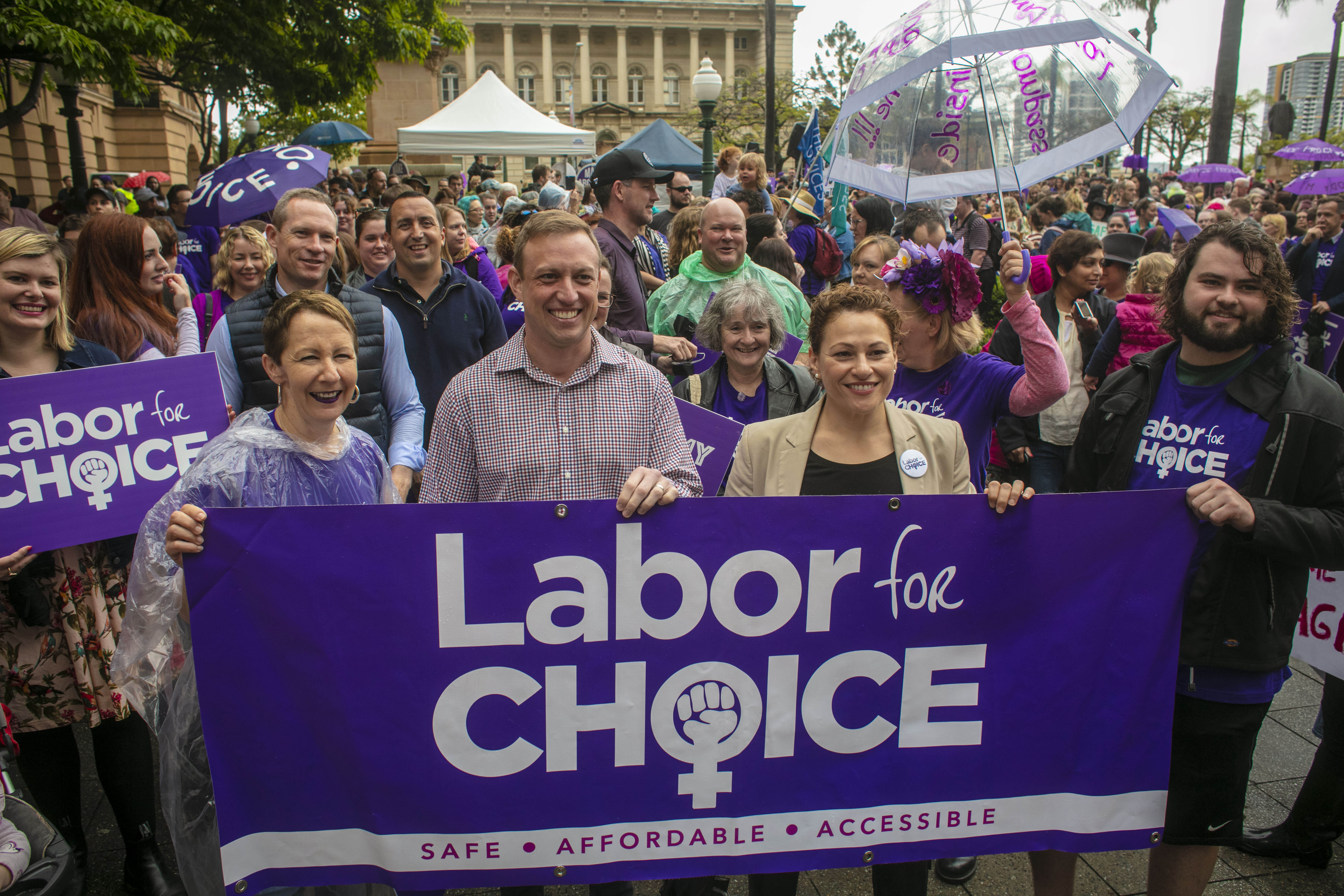 Queensland Health Minister Steven Miles (second left) and Deputy Premier Jackie Trad (third left) attend the March together for Choice rally ahead of proposed changes to Queensland's abortion laws in Brisbane, Australia, on Oct. 14, 2018.