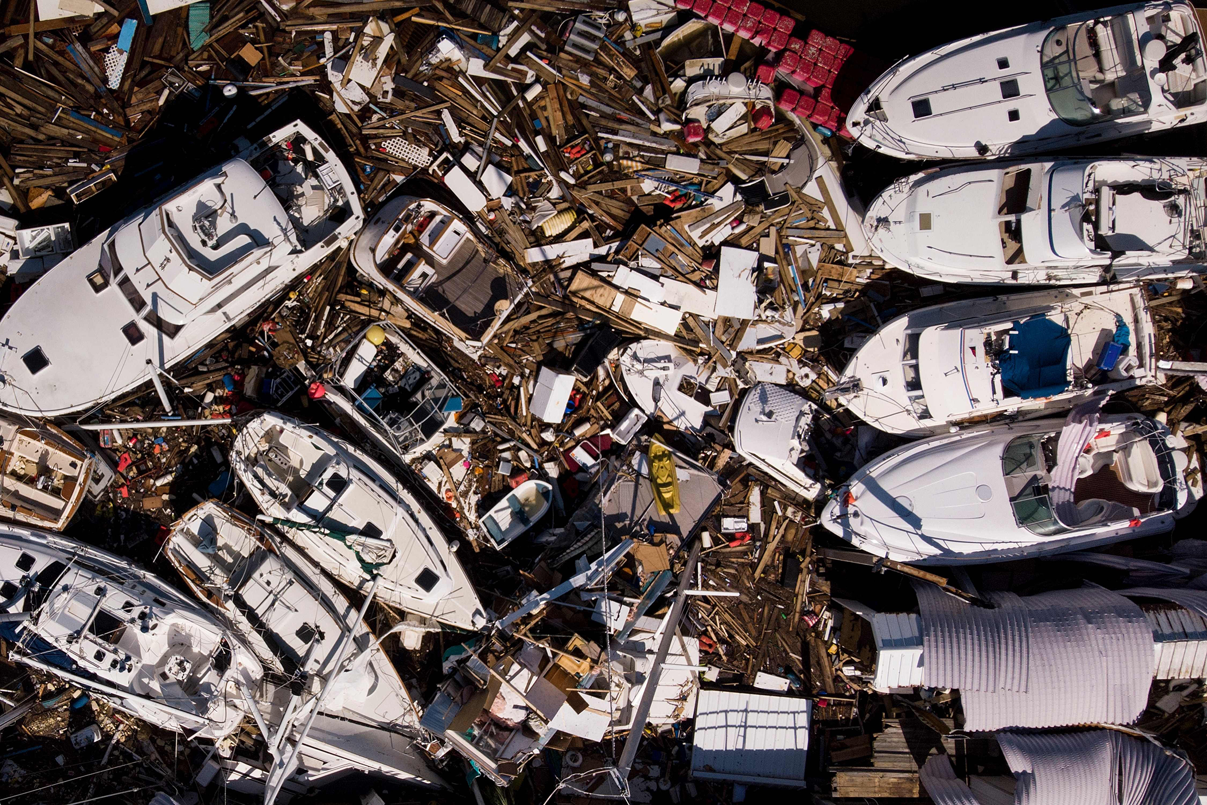 Storm damaged boats are seen in the aftermath of Hurricane Michael on Oct. 11, 2018 in Panama City, Fla.