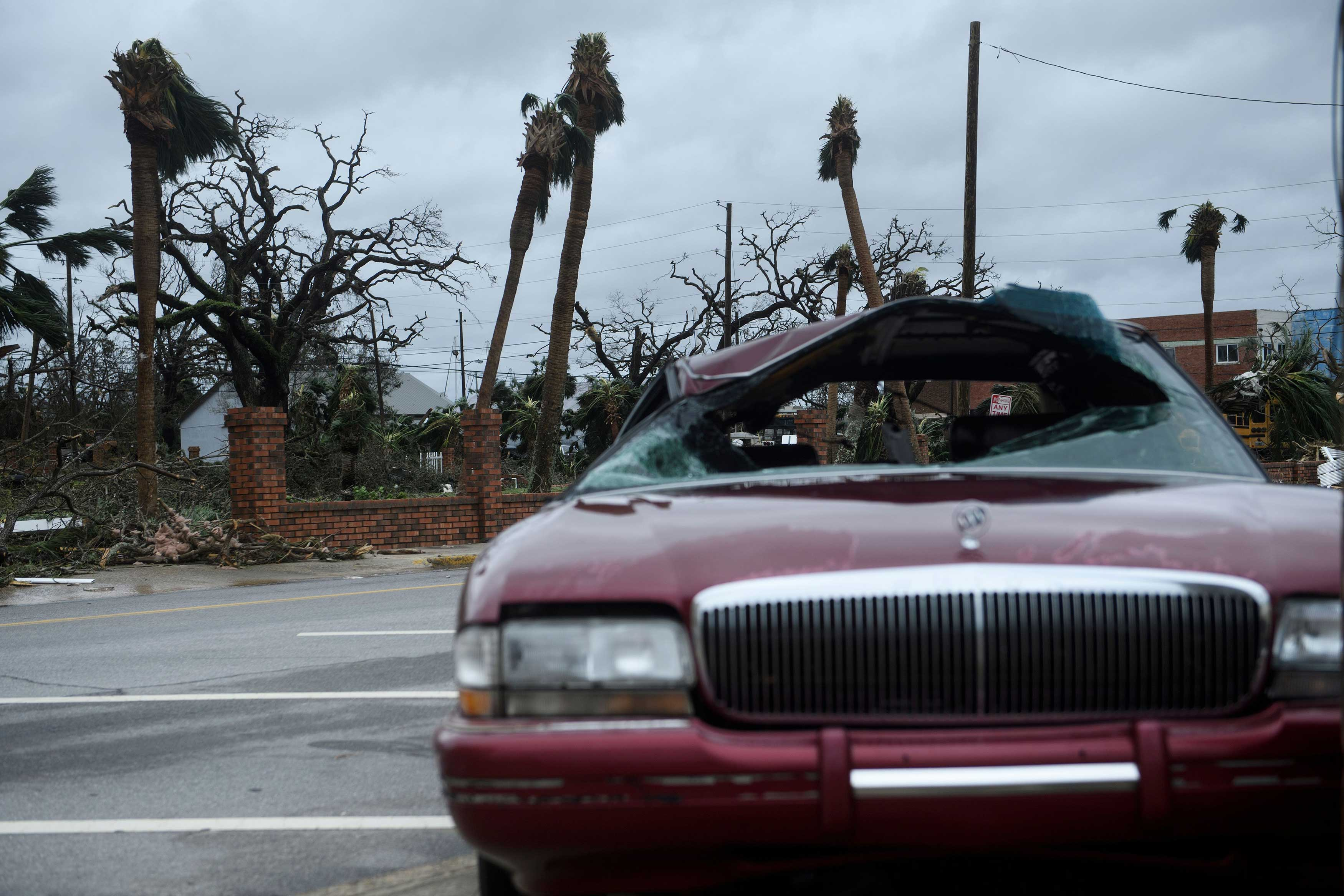 Storm damage is seen after Hurricane Michael Oct. 10, 2018 in Panama City, Fla.