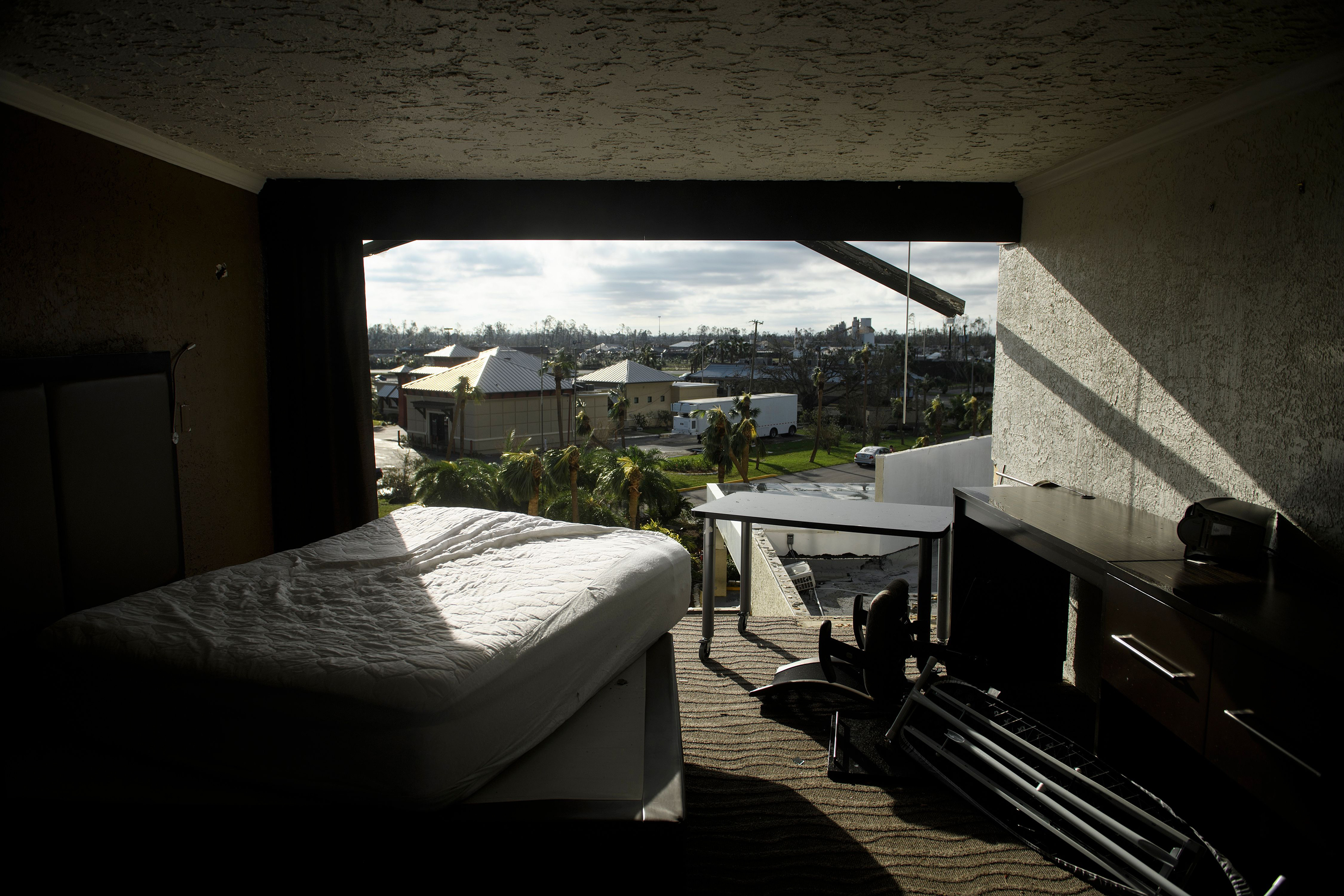 A view of a hotel room with a collapsed wall in the aftermath of Hurricane Michael on Oct. 11, 2018 in Panama City, Fla.