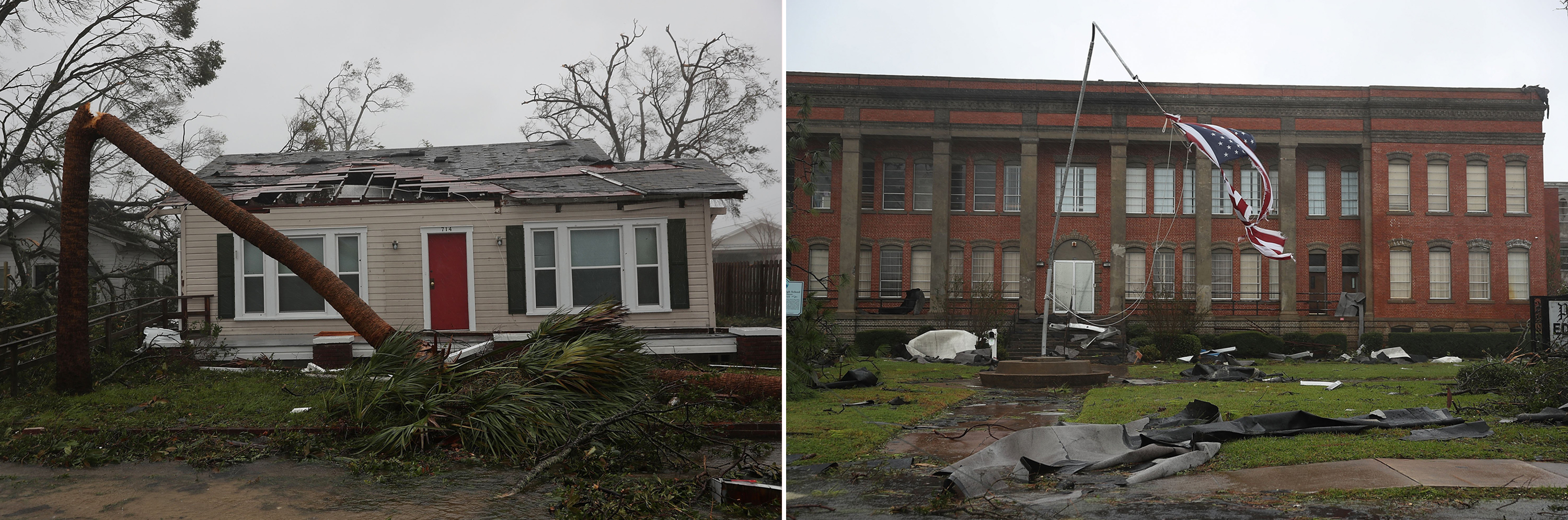 Damage is seen throughout Panama City, Fla. as Hurricane Michael passes through the area on Oct. 10.