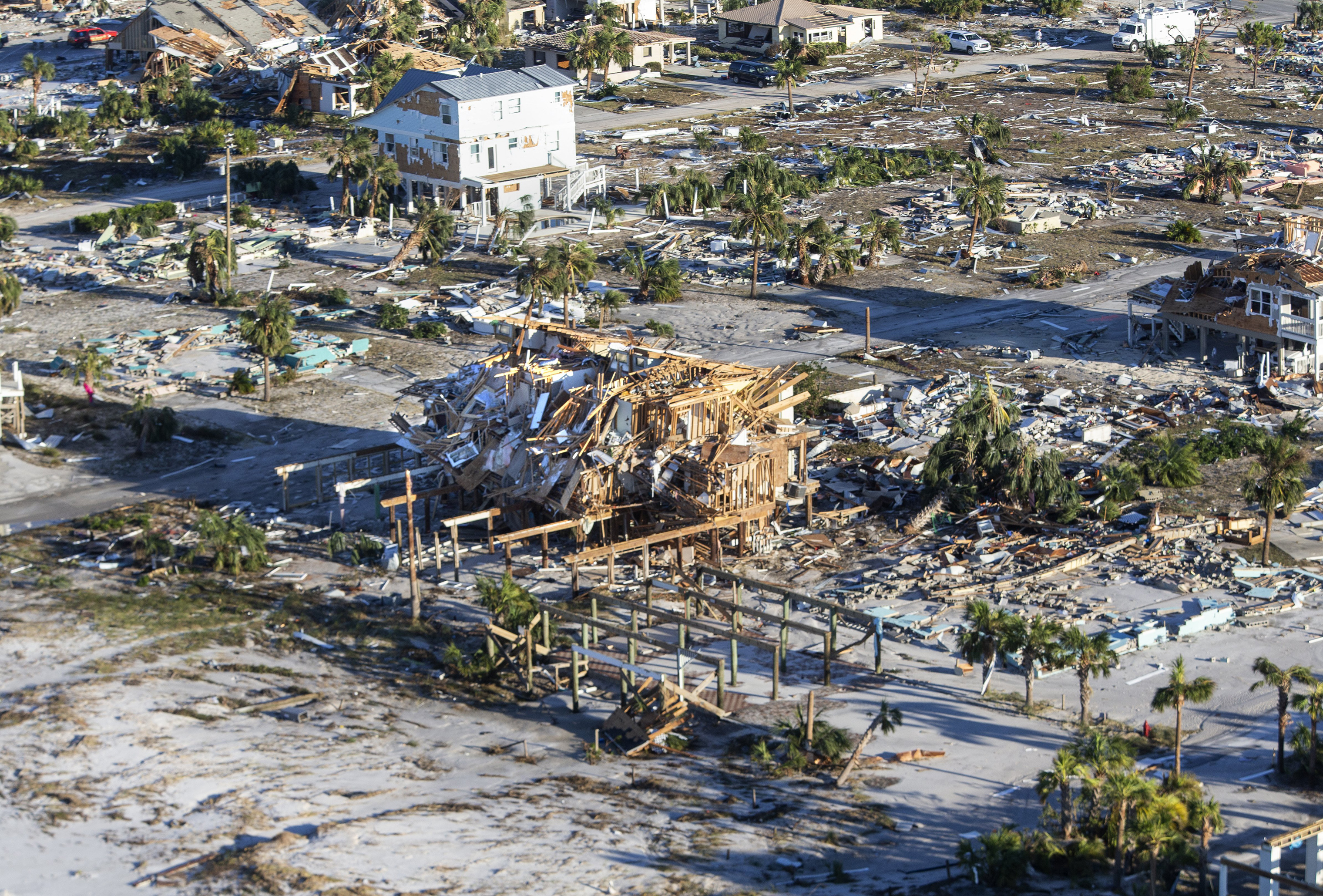 Homes and businesses along U.S. 98 are left in devastation by Hurricane Michael on Oct. 12, 2018 in Mexico Beach, Fla.