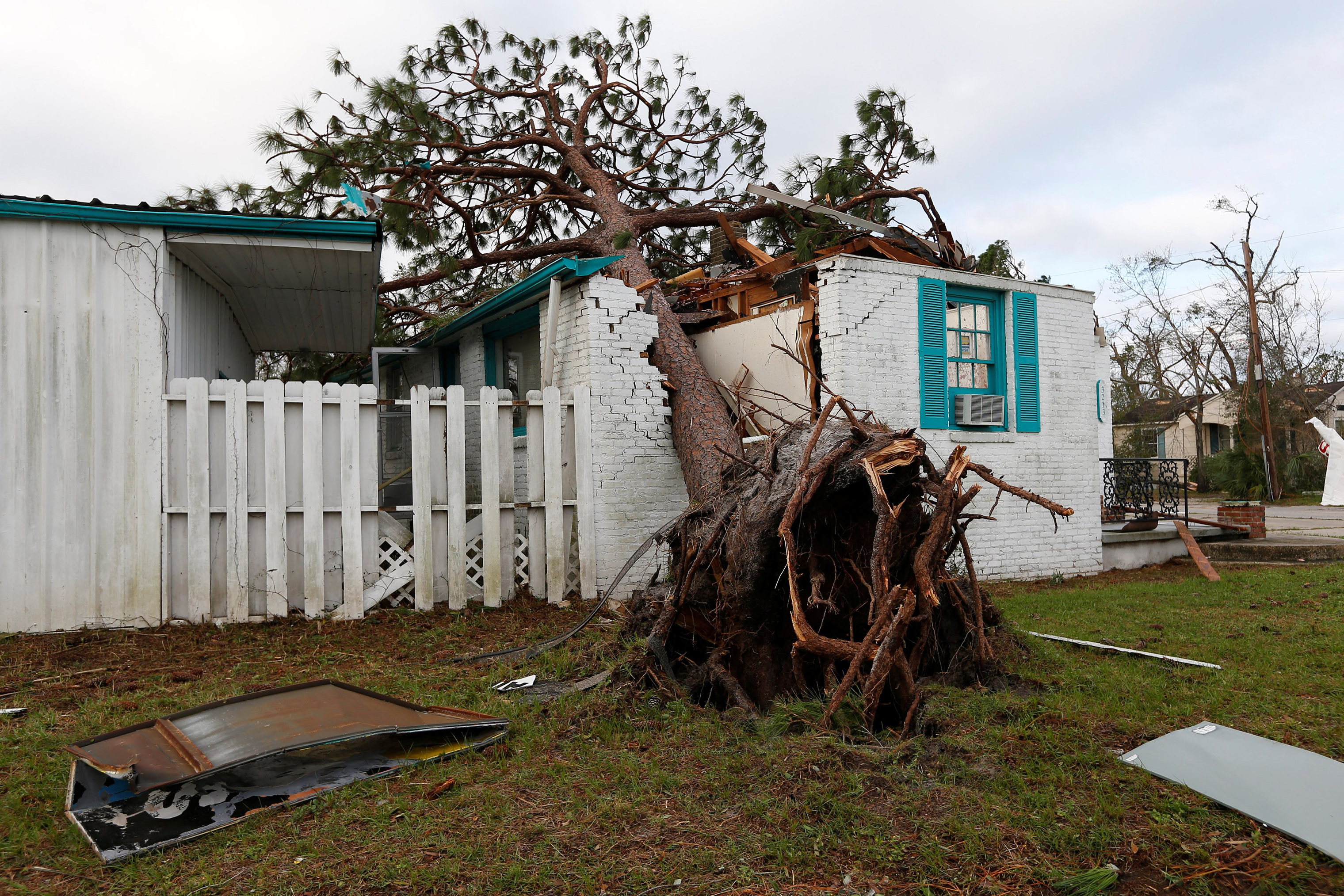 A house was damaged by Hurricane Michael in Panama City, Fla., Oct 11, 2018.