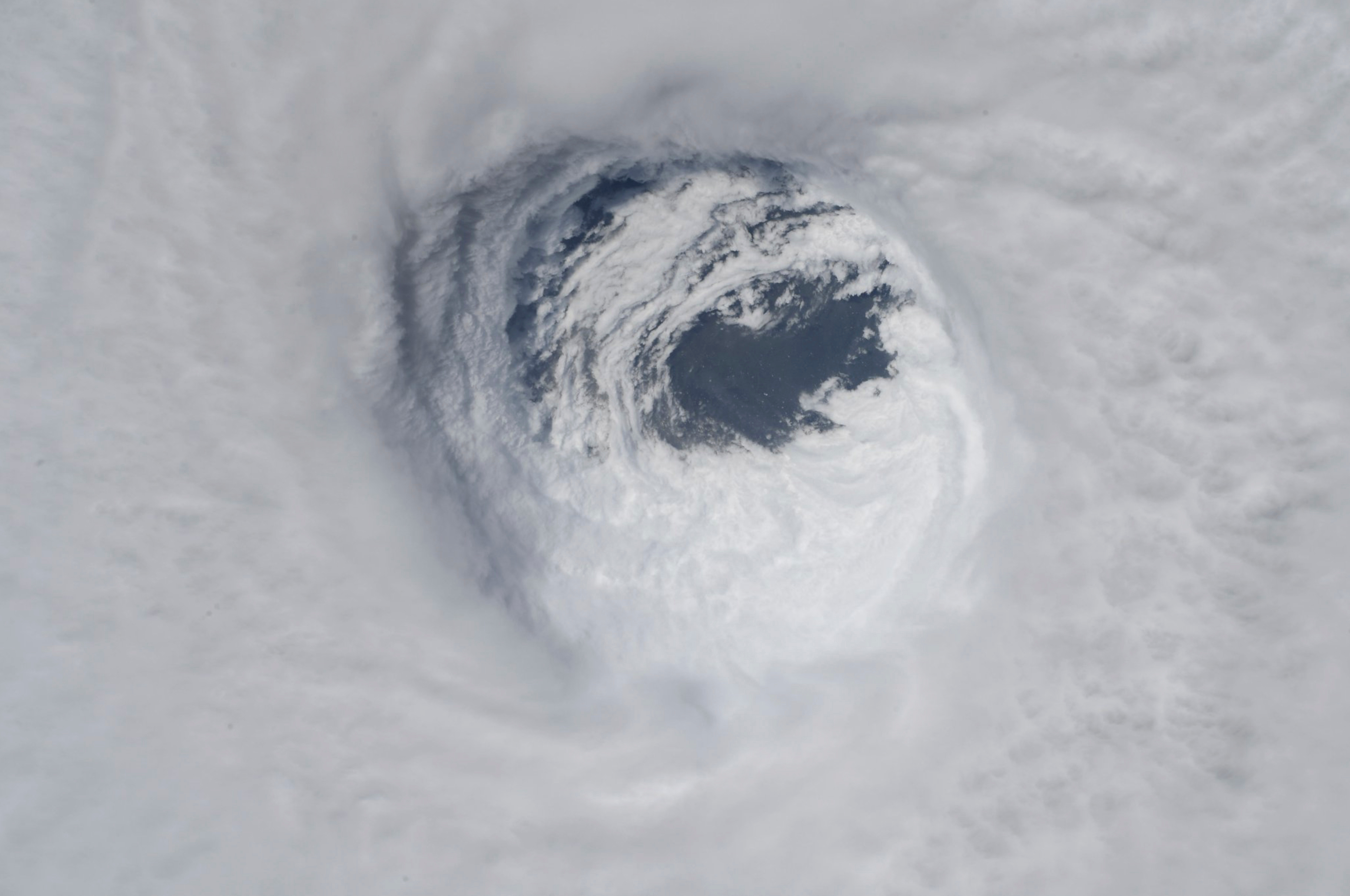 This photo made available by NASA shows they eye of Hurricane Michael, as seen from the International Space Station on Tropical Weather Space Station, on Oct. 10, 2018.