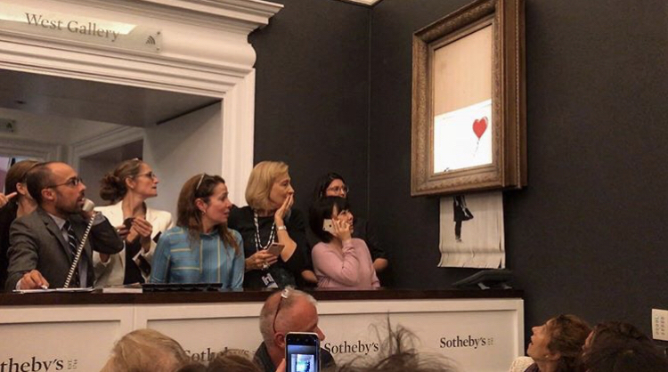 Banksy post stunning moment his art piece self destructs on Instagram.