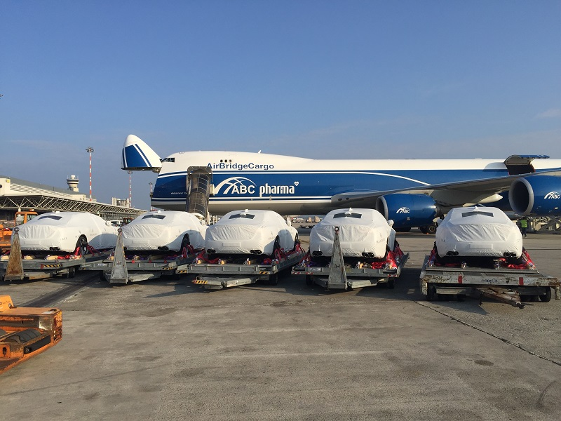 Five of the 40 Maseratis transported to Papua New Guinea for the APEC summit in November