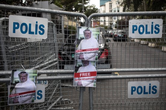 Posters of Khashoggi on a police barricade in front of Saudi Arabia's consulate in Istanbul on Oct. 8