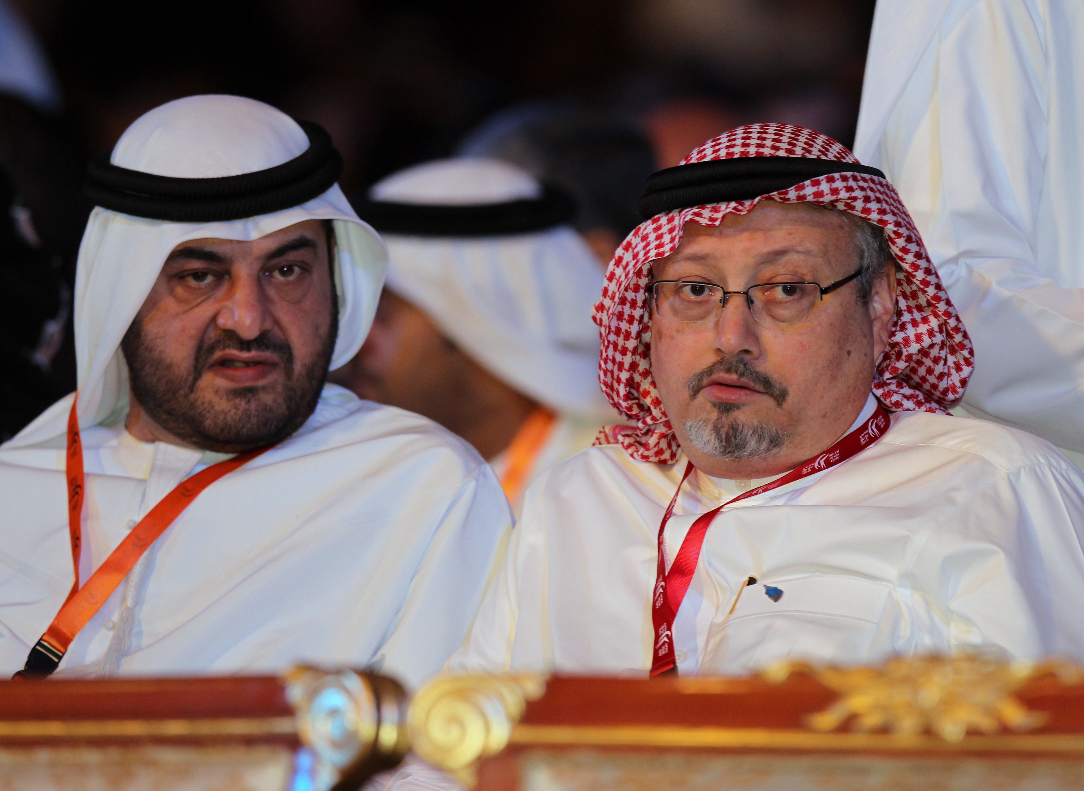 Saudi Journalist and Former Editor-in-chief of the Saudi Newspaper Al-watan Jamal Khashoggi (R) attends the the Opening Ceremony of 11th Edition of Arab Media Forum 2012 in Dubai, United Arab Emirates. Khashoggi went missing after he entered the Saudi Arabian consulate in Istanbul, Turkey, to obtain a marriage license.