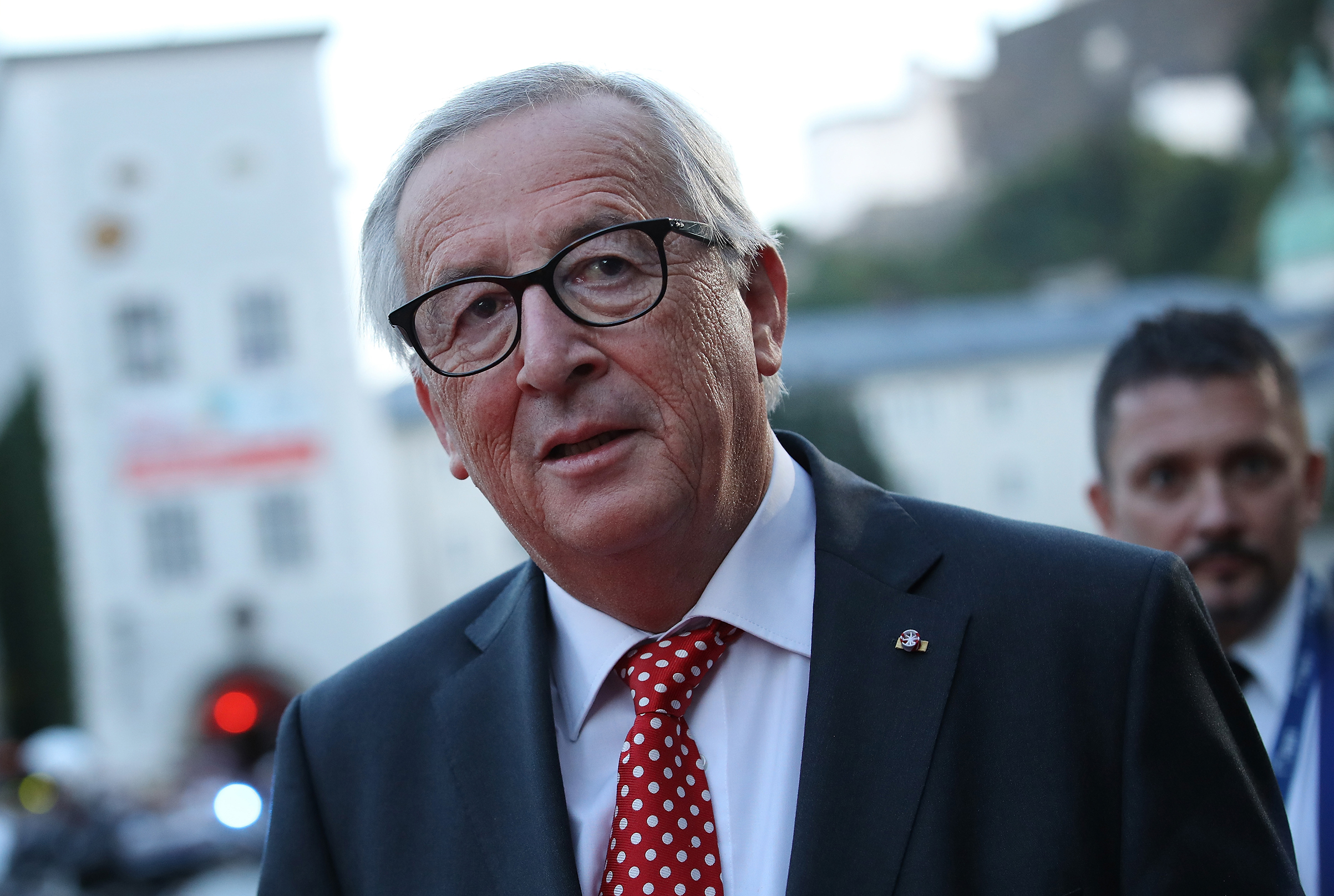 Jean-Claude Juncker, President of the European Commission, arrives at an informal summit of leaders of the European Union on September 19, 2018 in Salzburg, Austria. High on the agenda of the two-day summit is migration policy.