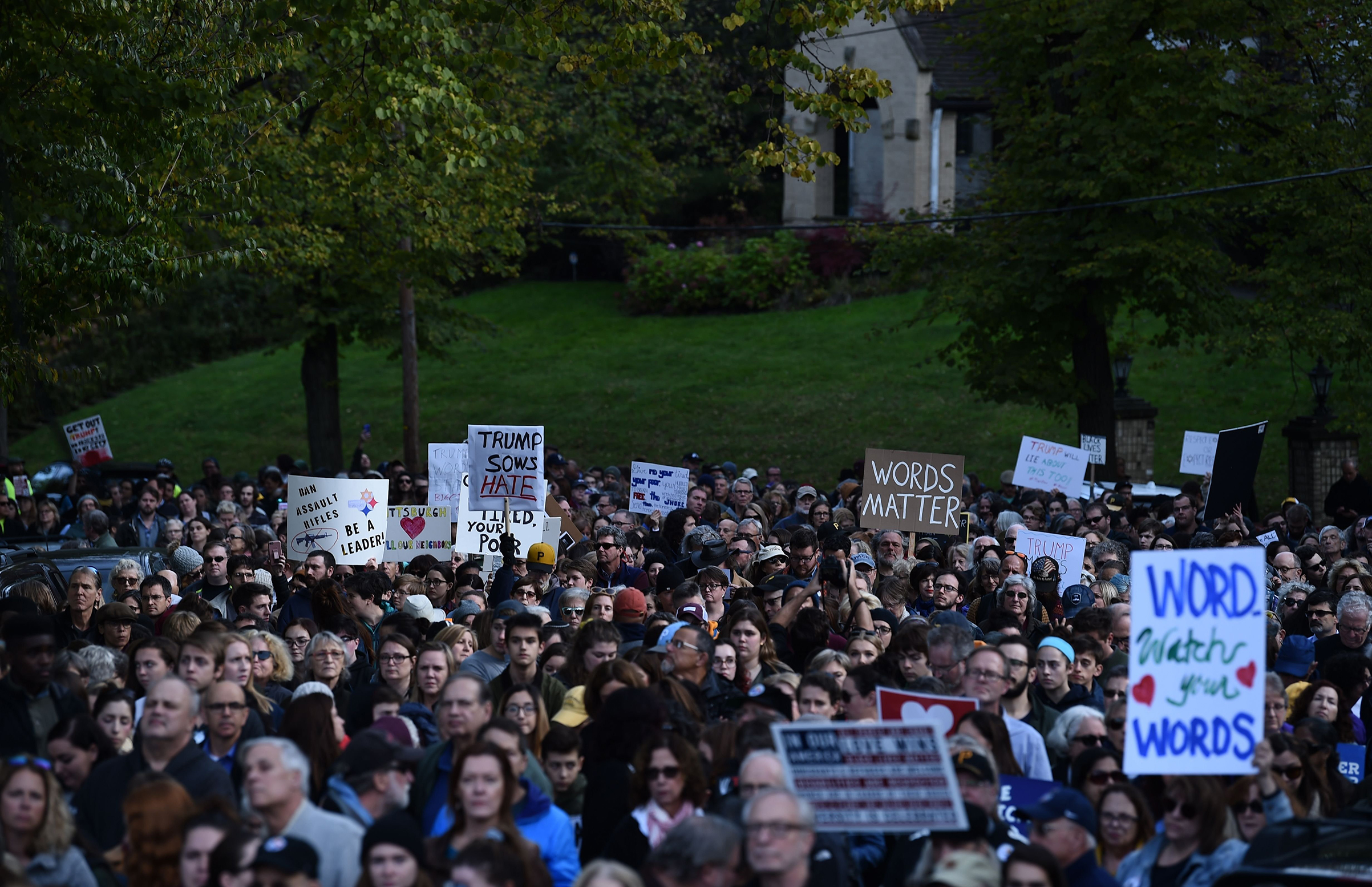 As Trump visited Pittsburgh on Oct. 30, protesters gathered near the Tree of Life synagogue