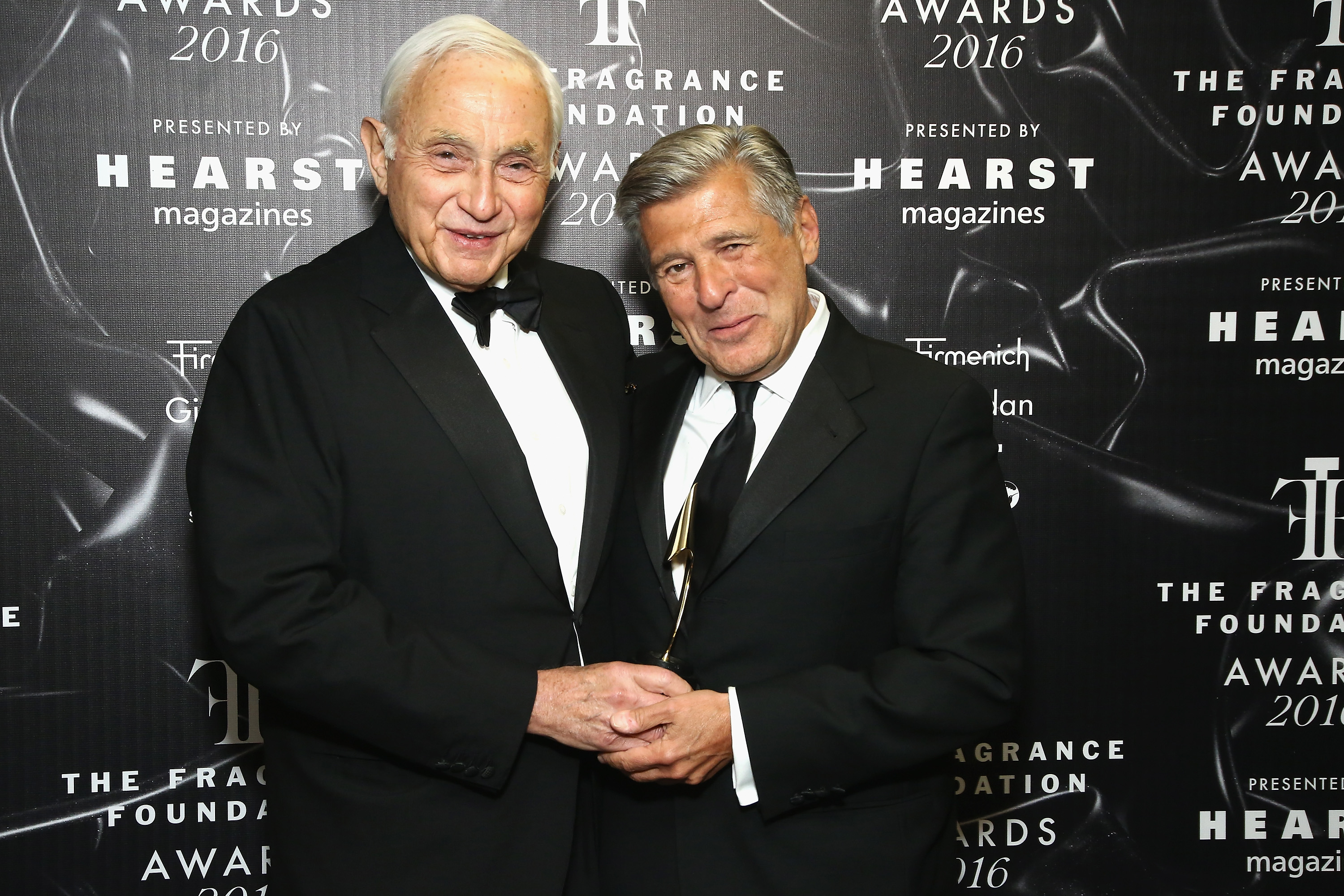 Les Wexner and Ed Razek pose backstage at the 2016 Fragrance Foundation Awards presented by Hearst Magazines on June 7, 2016 in New York City.