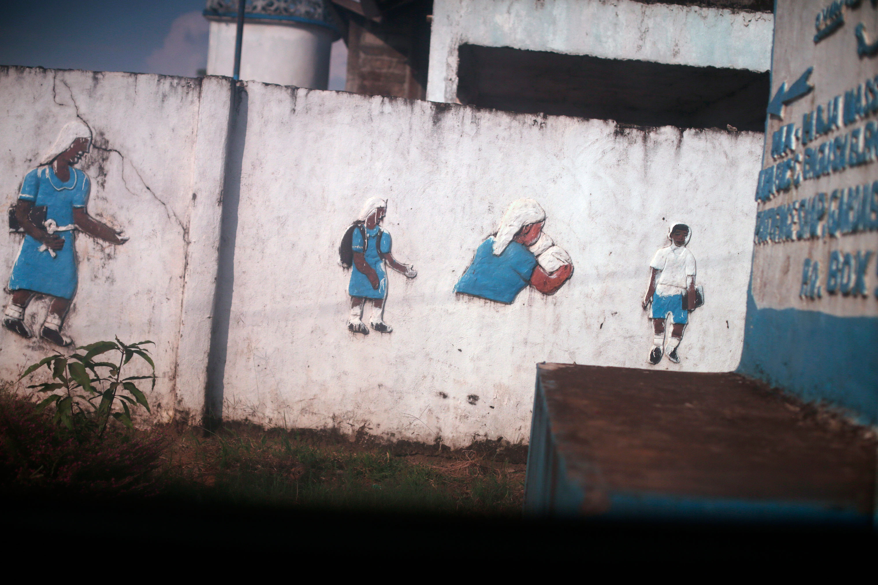 Paintings on a school wall in Monrovia.