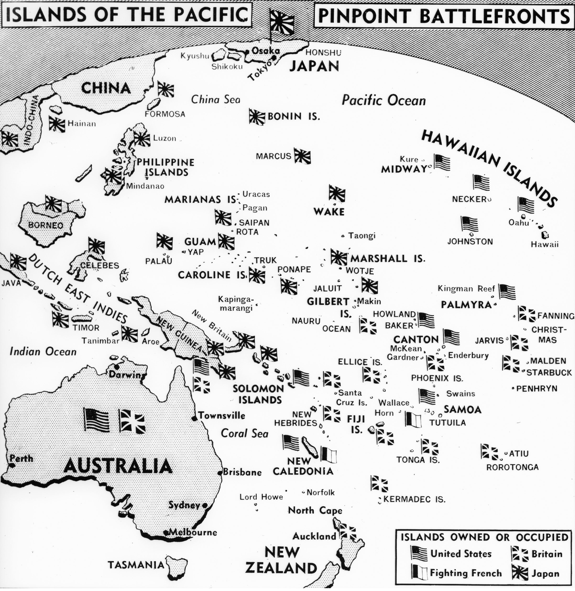 A 1942 map, laying out the World War II battlefields of the Pacific, shows the powers that control or occupy the islands of the area