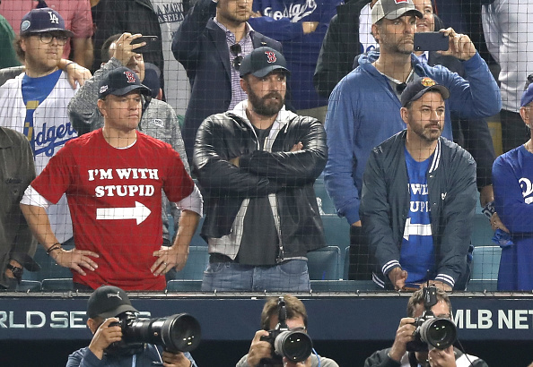 Matt Damon, Ben Affleck and Jimmy attend The Los Angeles Dodgers Game - World Series - Boston Red Sox v Los Angeles Dodgers - Game Five at Dodger Stadium on October 28, 2018 in Los Angeles, California.