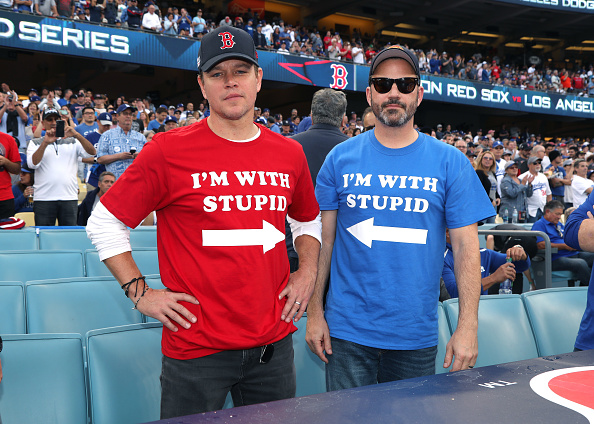 Matt Damon and Jimmy Kimmel attend The Los Angeles Dodgers Game - World Series - Boston Red Sox v Los Angeles Dodgers - Game Five at Dodger Stadium on October 28, 2018 in Los Angeles, California.